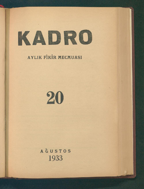 1 Ağustos 1933 Tarihli Kadro Dergisi Sayfa 1