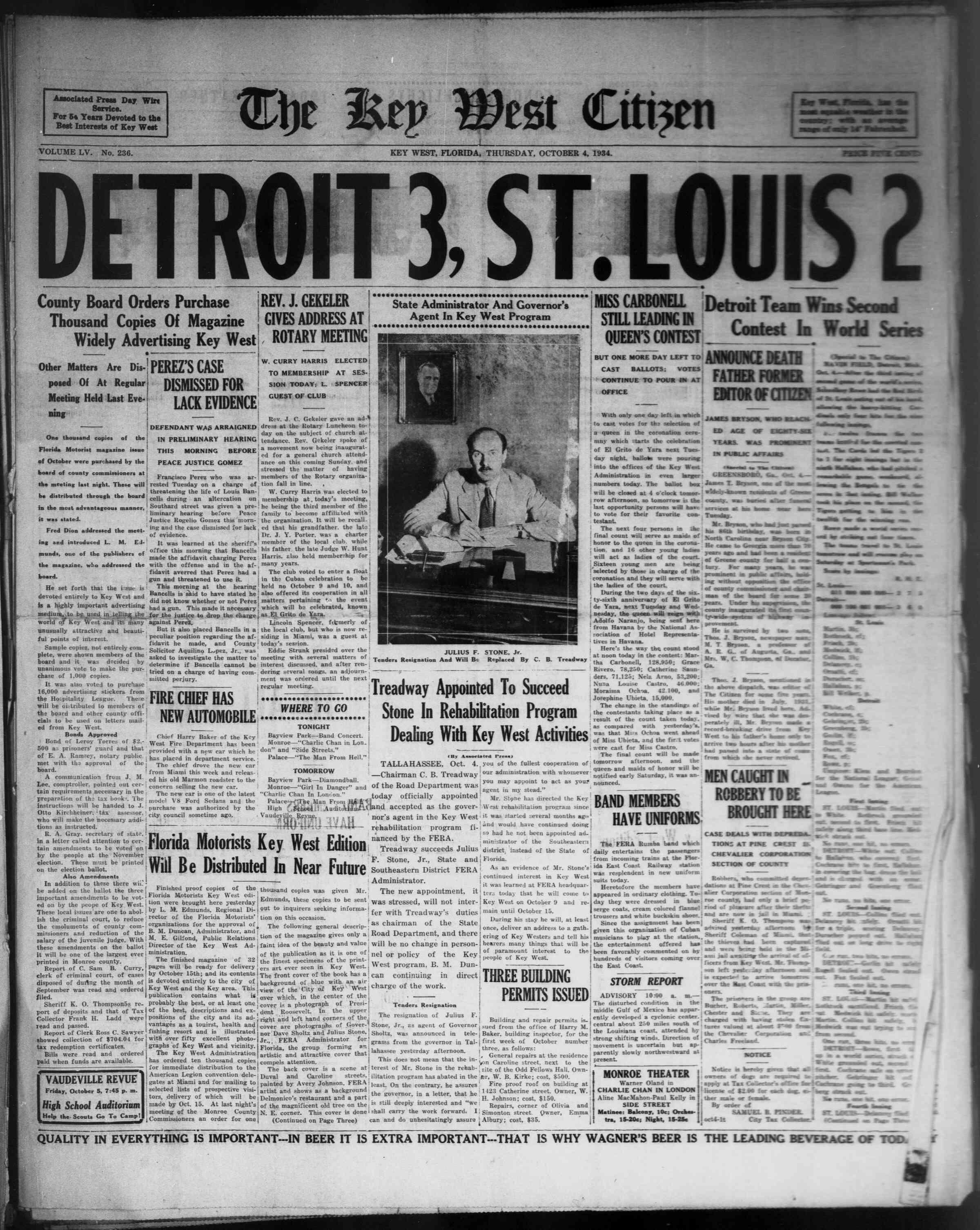 4 Ekim 1934 Tarihli The Key West Citizen Dergisi Sayfa 1