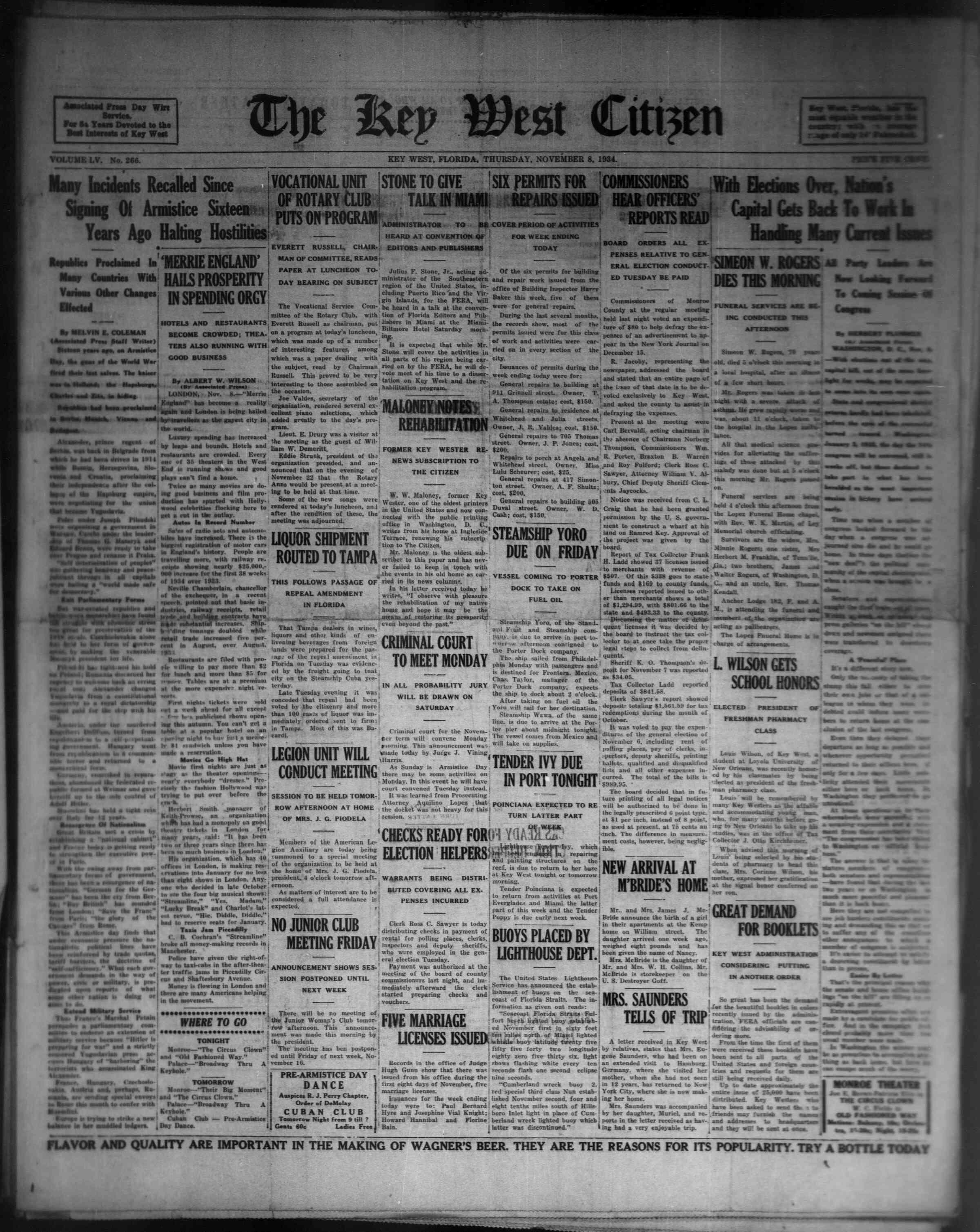 8 Kasım 1934 Tarihli The Key West Citizen Dergisi Sayfa 1