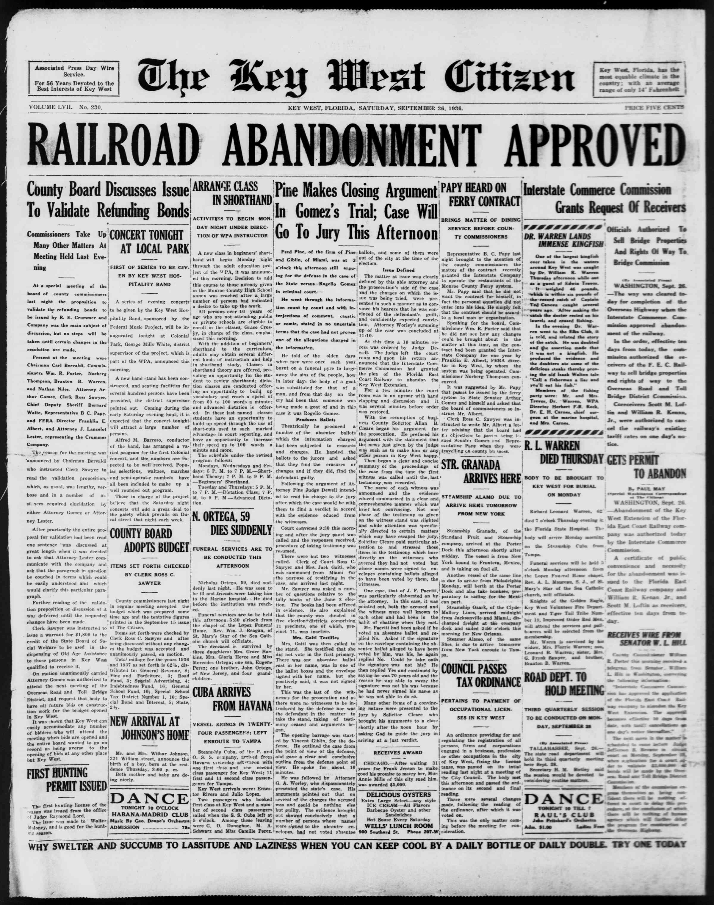 26 Eylül 1936 Tarihli The Key West Citizen Gazetesi Sayfa 1