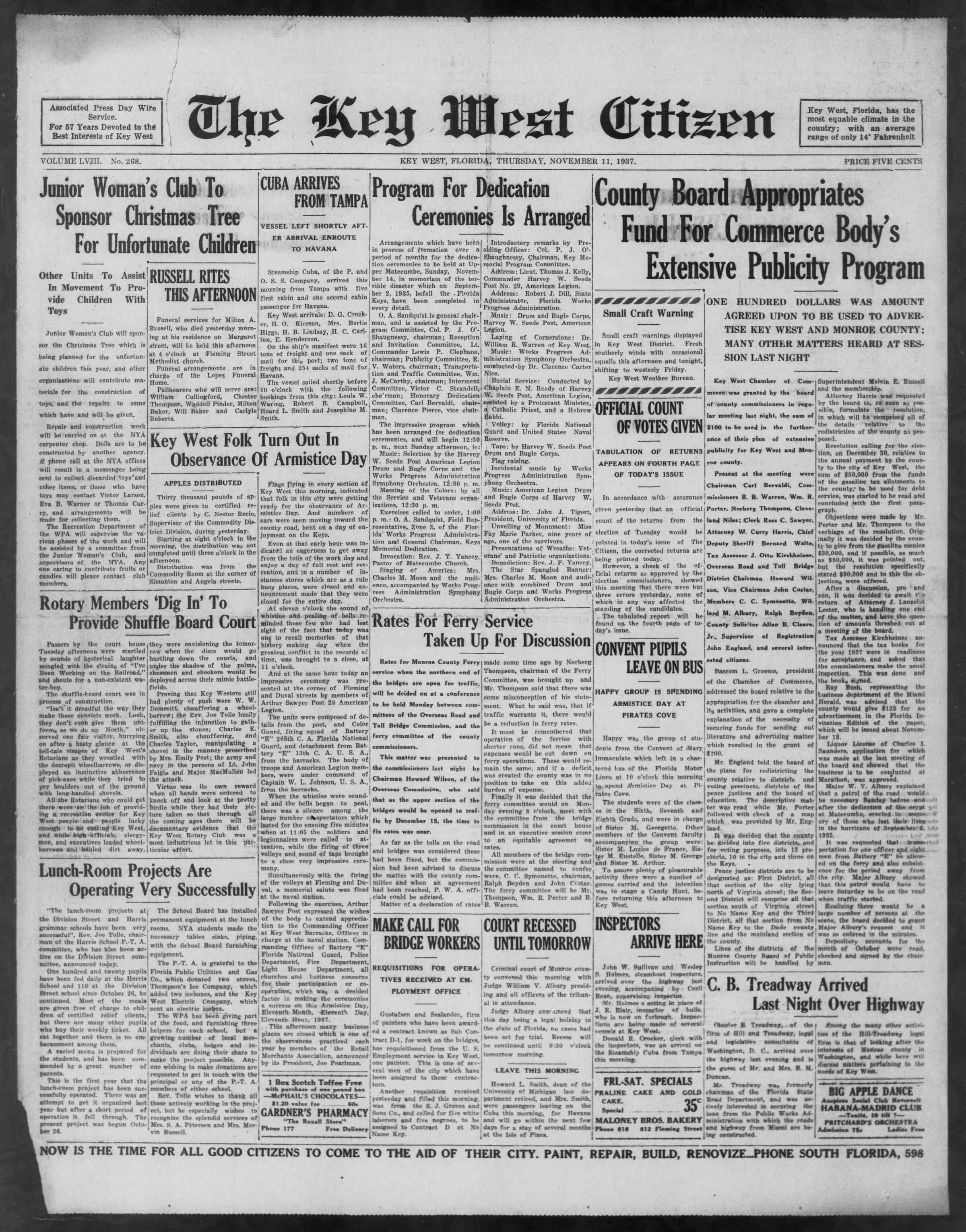 11 Kasım 1937 Tarihli The Key West Citizen Gazetesi Sayfa 1