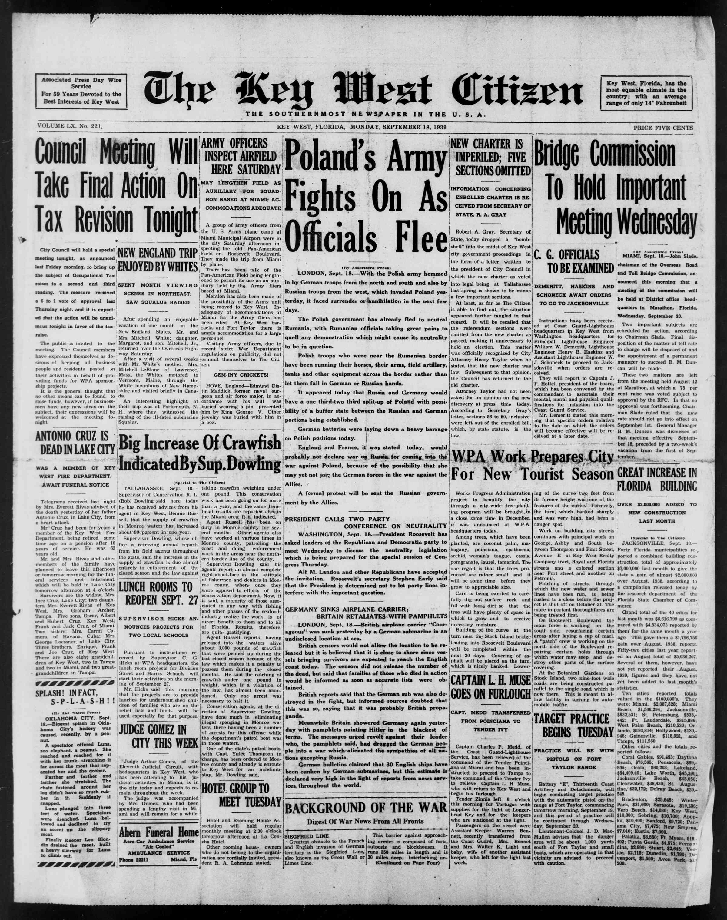 18 Eylül 1939 Tarihli The Key West Citizen Dergisi Sayfa 1