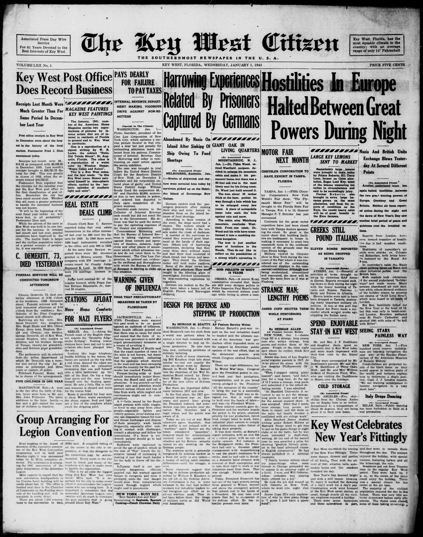 1 Ocak 1941 Tarihli The Key West Citizen Gazetesi Sayfa 1