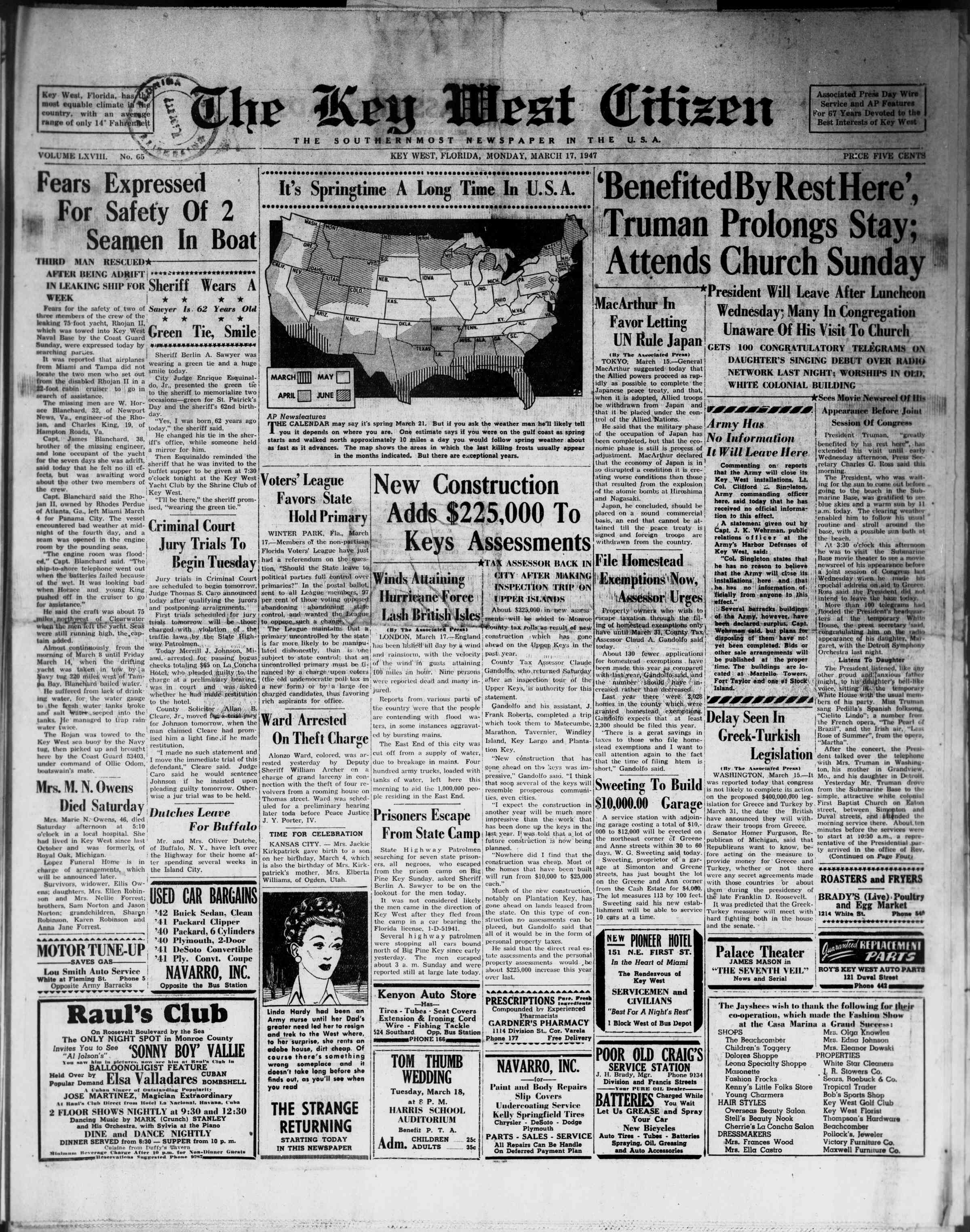 17 Mart 1947 Tarihli The Key West Citizen Gazetesi Sayfa 1