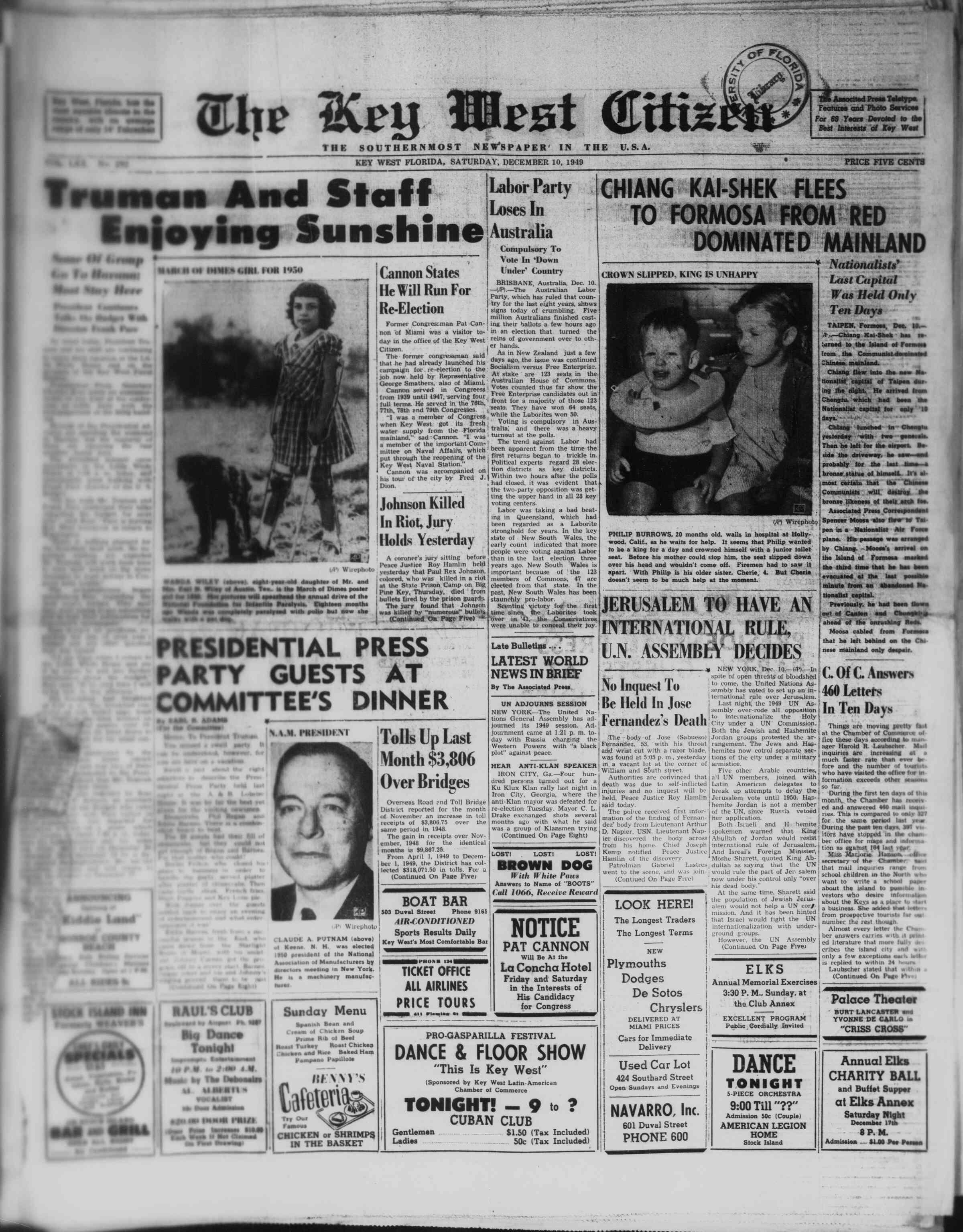 December 10, 1949 Tarihli The Key West Citizen Gazetesi Sayfa 1