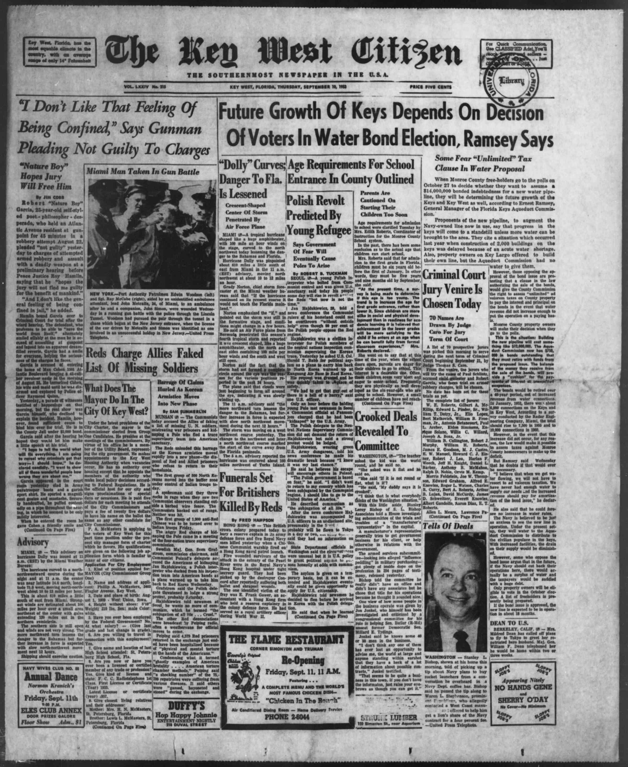 10 Eylül 1953 tarihli The Key West Citizen Gazetesi Sayfa 1