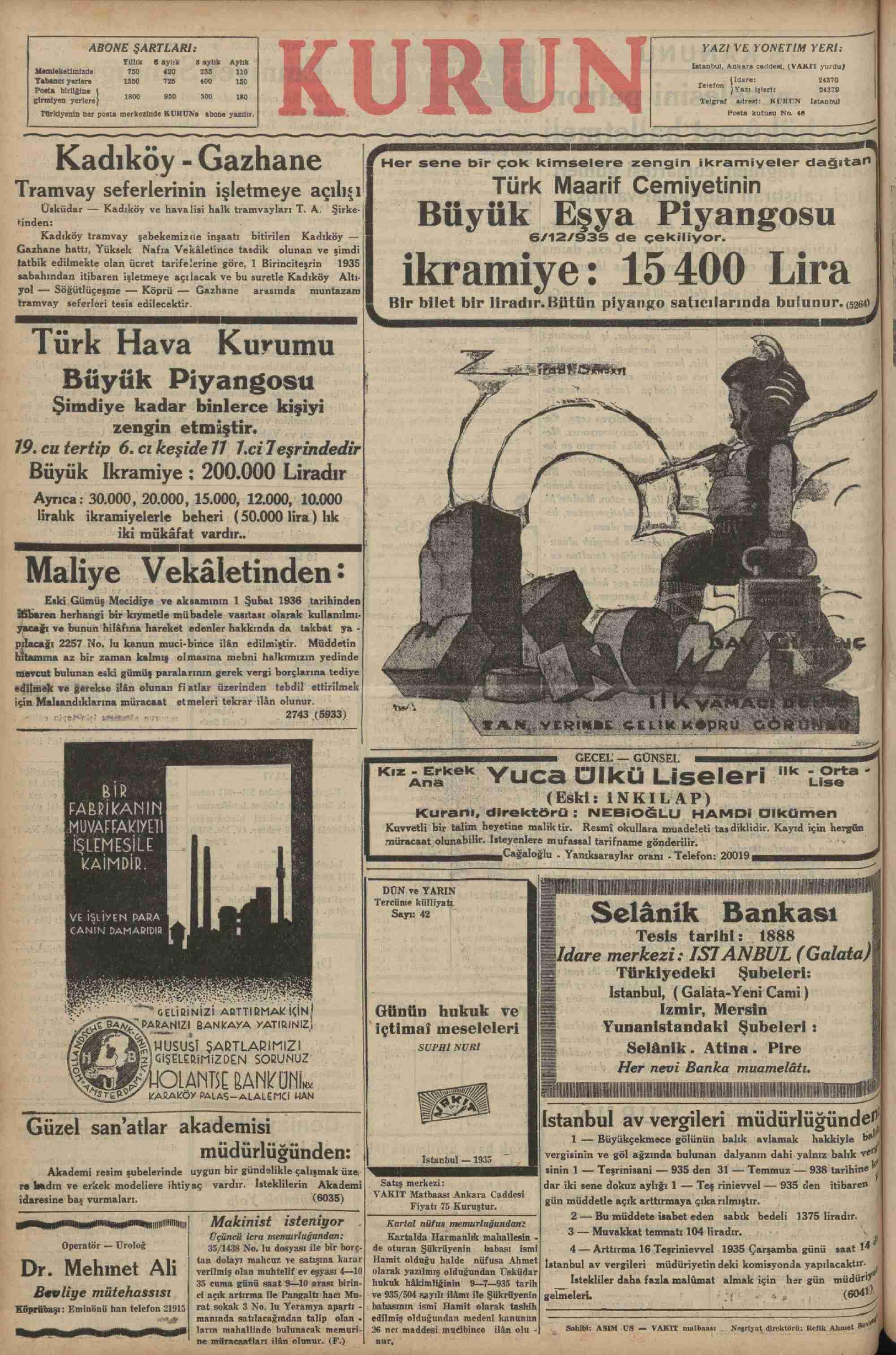 October 1, 1935 Tarihli Kurun Dergisi Sayfa 12