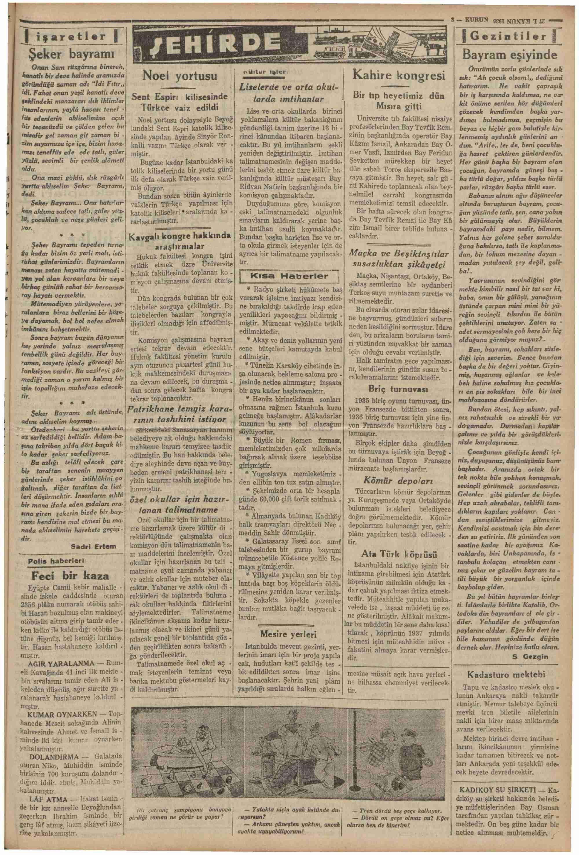 27 Aralık 1935 tarihli Kurun Gazetesi Sayfa 3