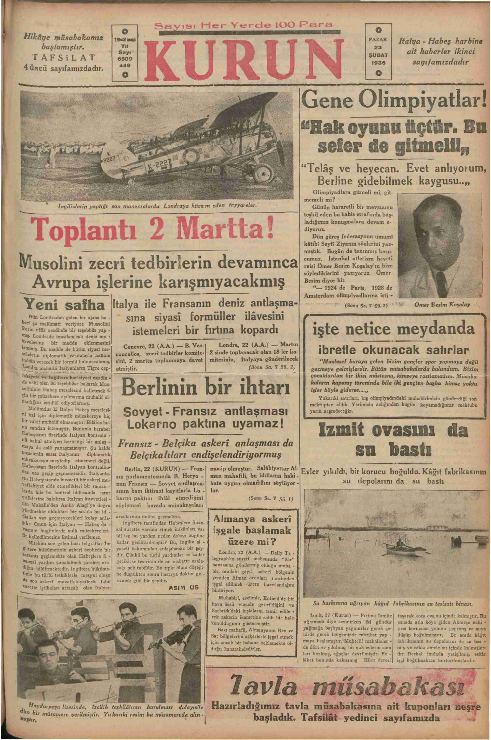 23 Şubat 1936 Tarihli Kurun Gazetesi Sayfa 1