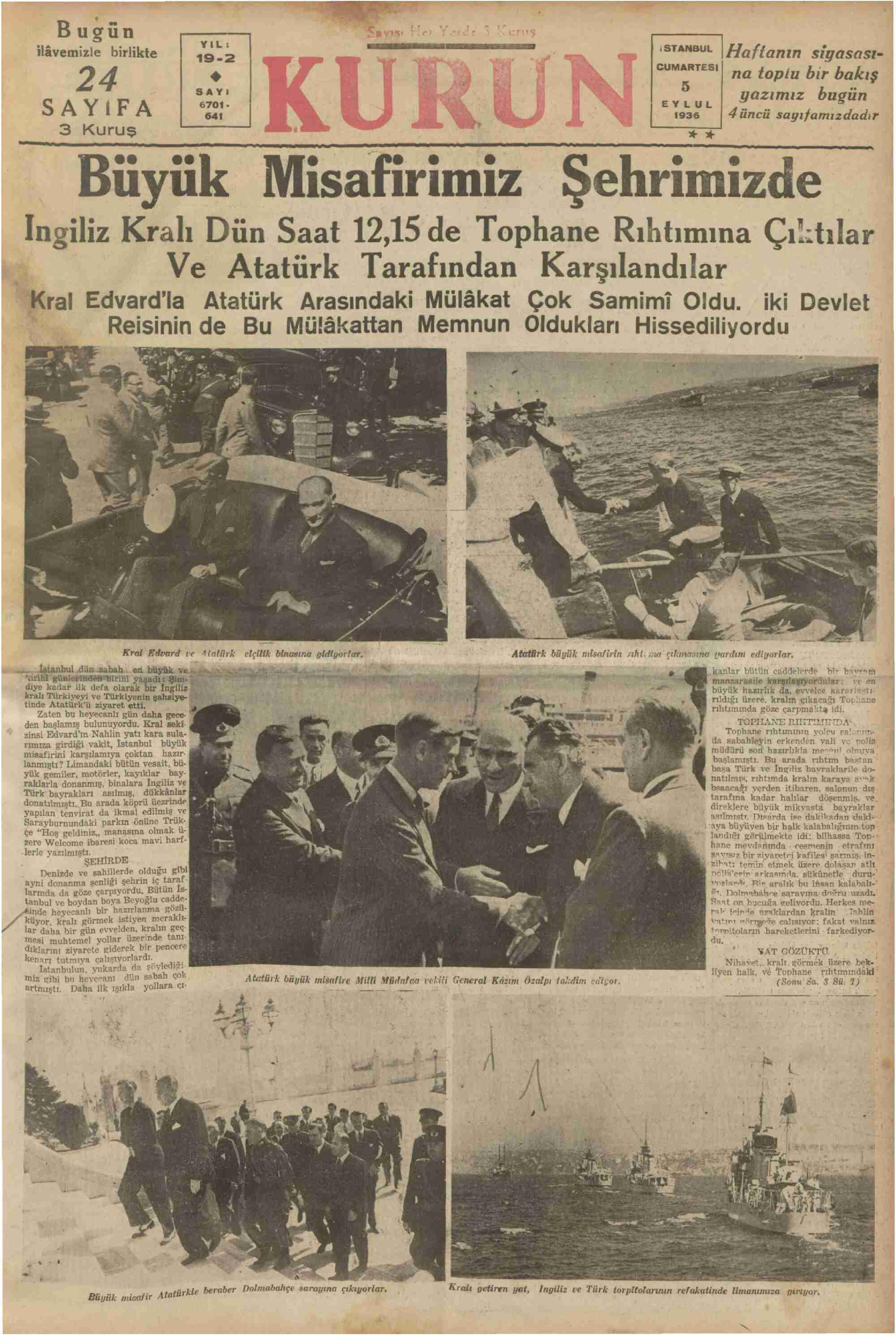 5 Eylül 1936 Tarihli Kurun Gazetesi Sayfa 1