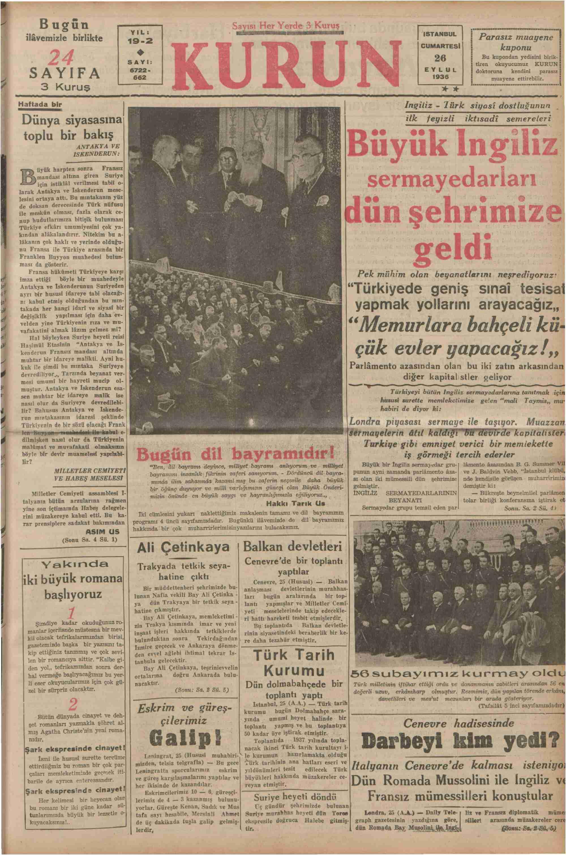 26 Eylül 1936 Tarihli Kurun Gazetesi Sayfa 1