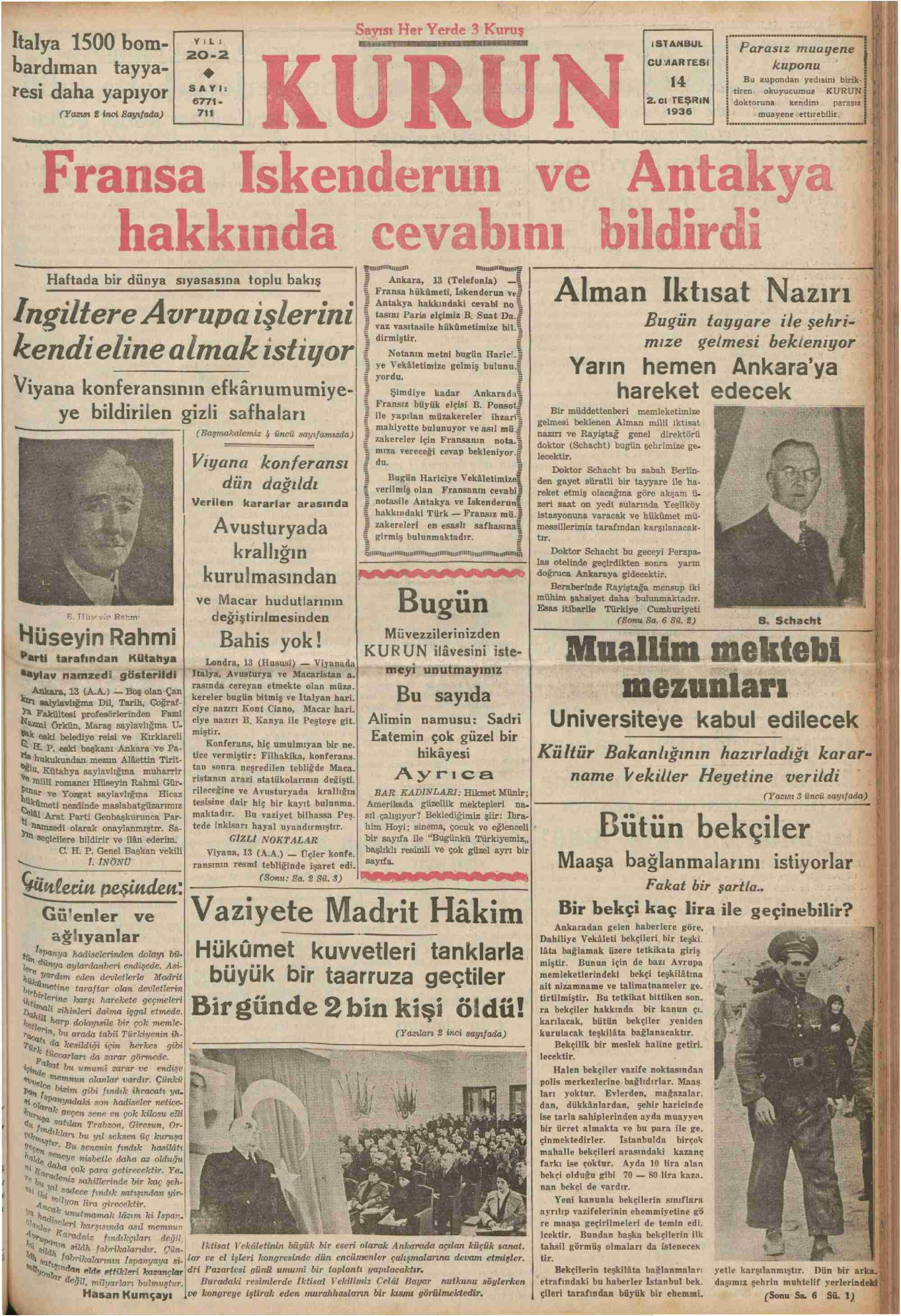 14 Kasım 1936 Tarihli Kurun Dergisi Sayfa 1