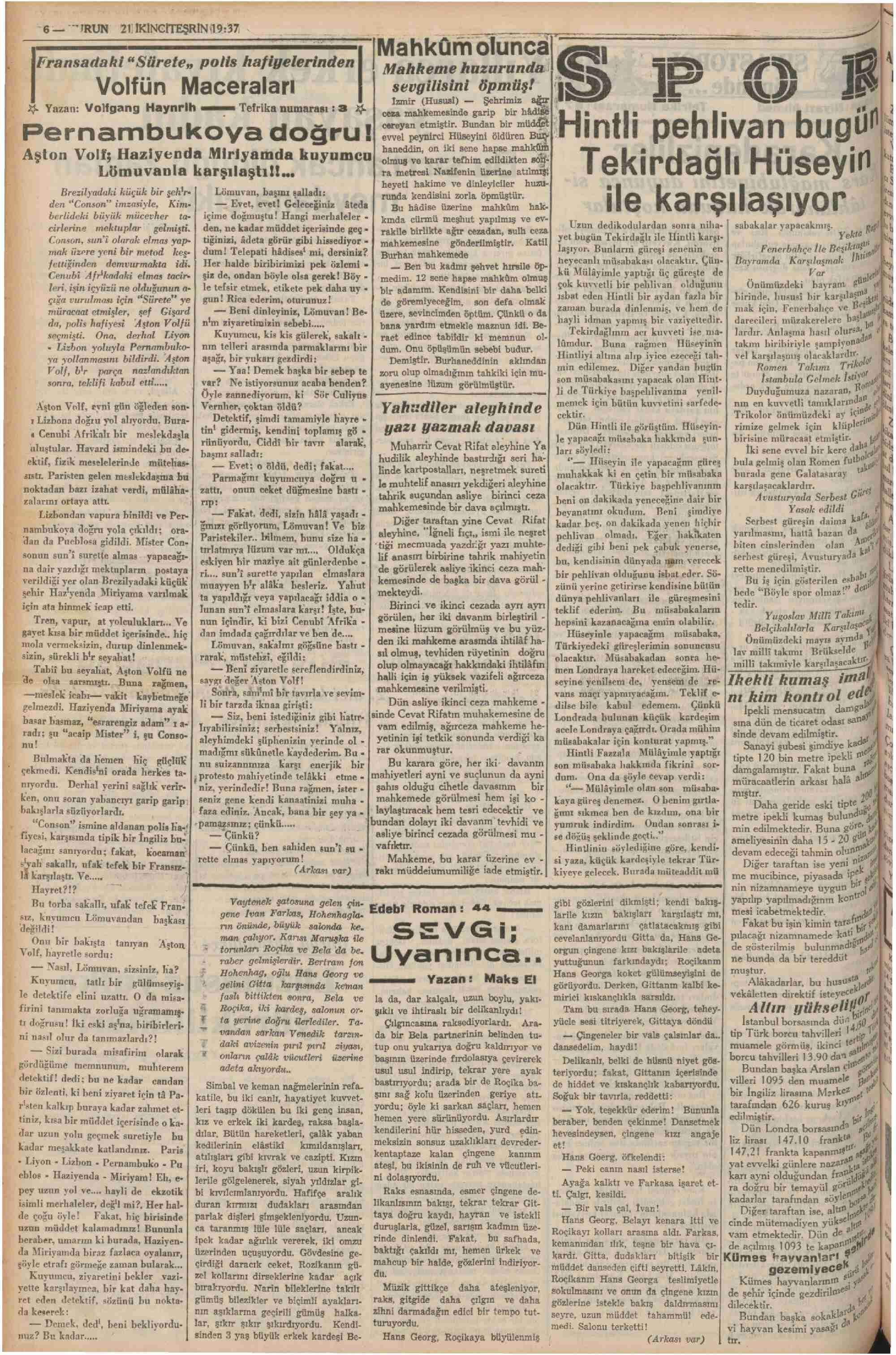 21 Kasım 1937 Tarihli Kurun Dergisi Sayfa 6