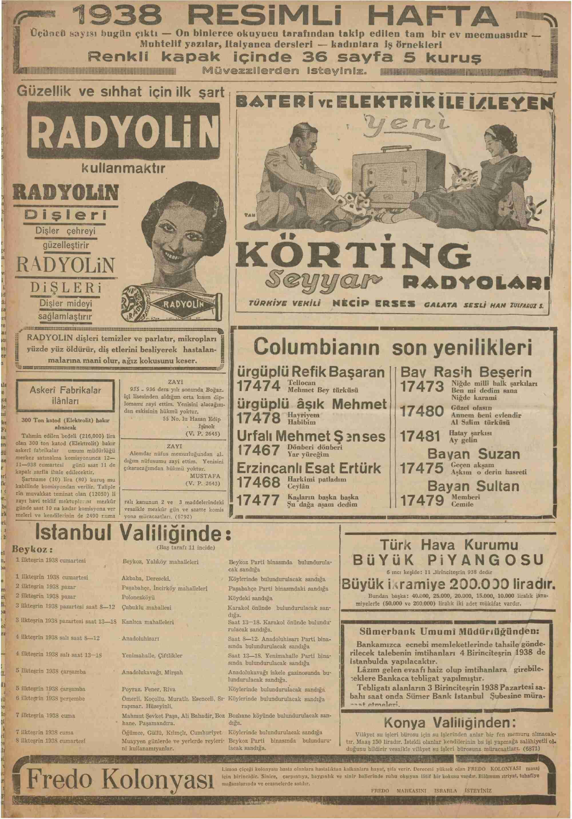 1 Ekim 1938 Tarihli Kurun Dergisi Sayfa 12