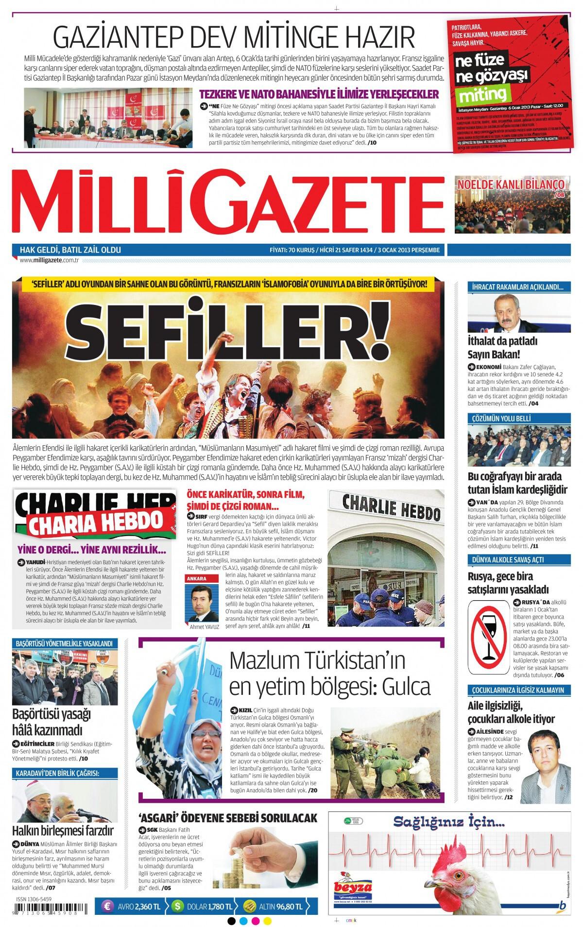 3 Ocak 2013 tarihli Milli Gazete Gazetesi Sayfa 1
