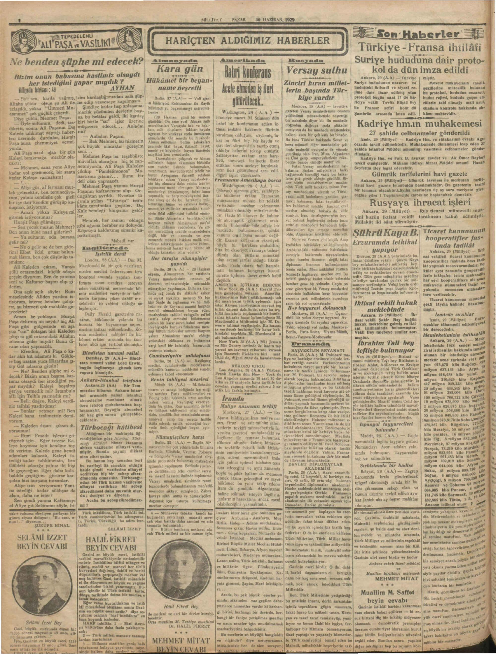 30 Haziran 1929 Tarihli Milliyet Dergisi Sayfa 2