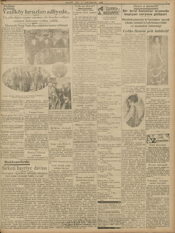 3 Aralık 1929 Tarihli Milliyet Gazetesi Sayfa 3