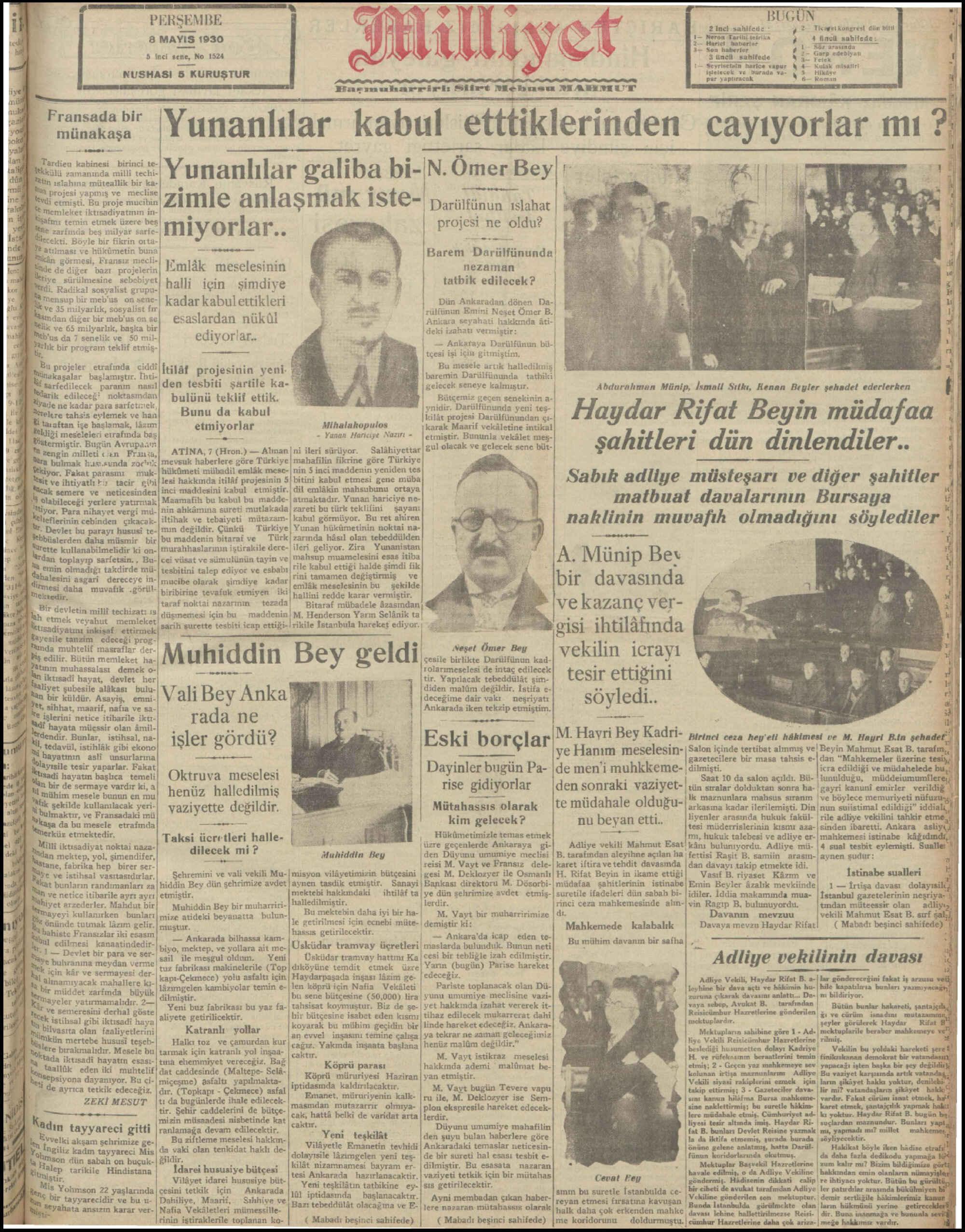 8 Mayıs 1930 tarihli Milliyet Gazetesi Sayfa 1