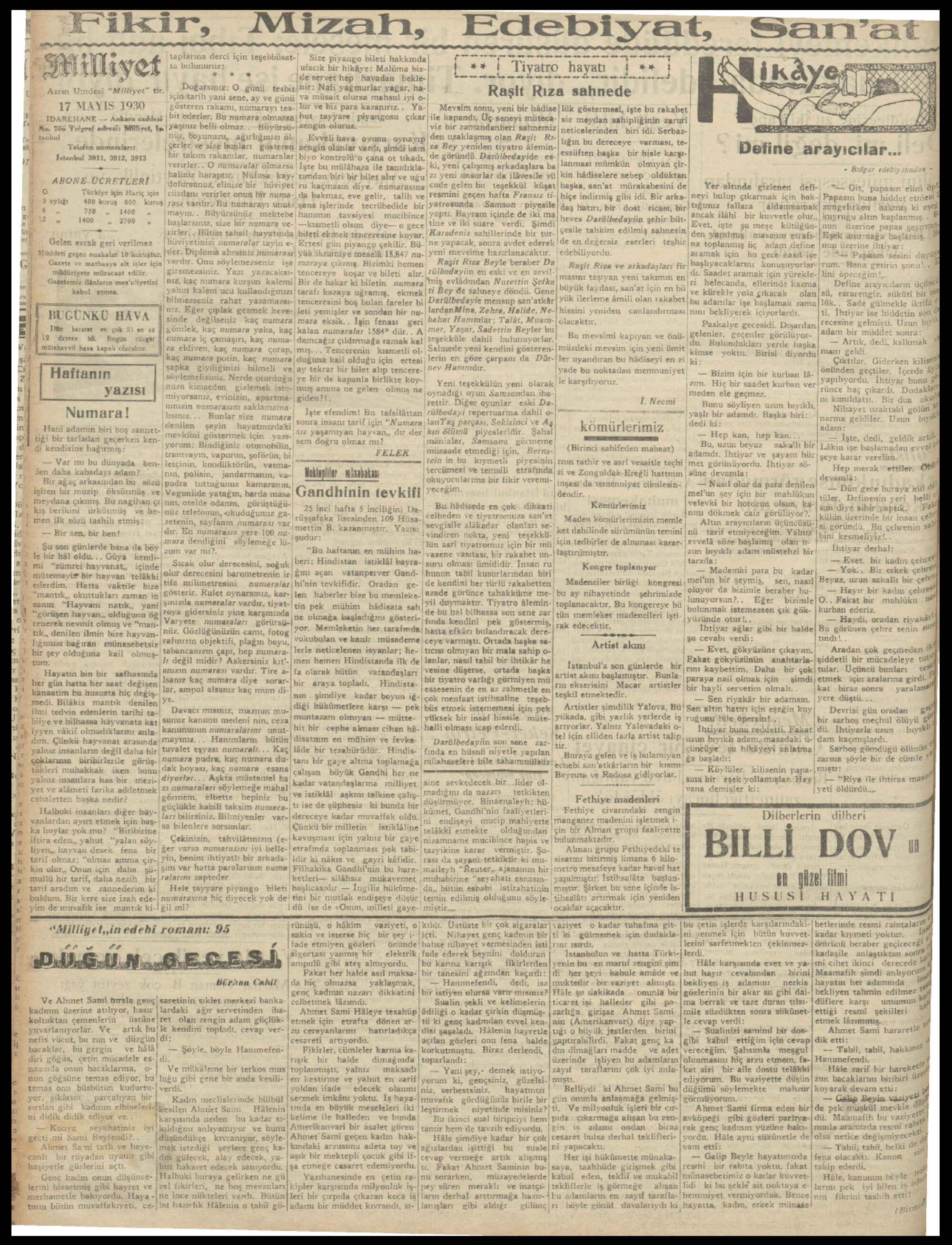 17 Mayıs 1930 Tarihli Milliyet Gazetesi Sayfa 4