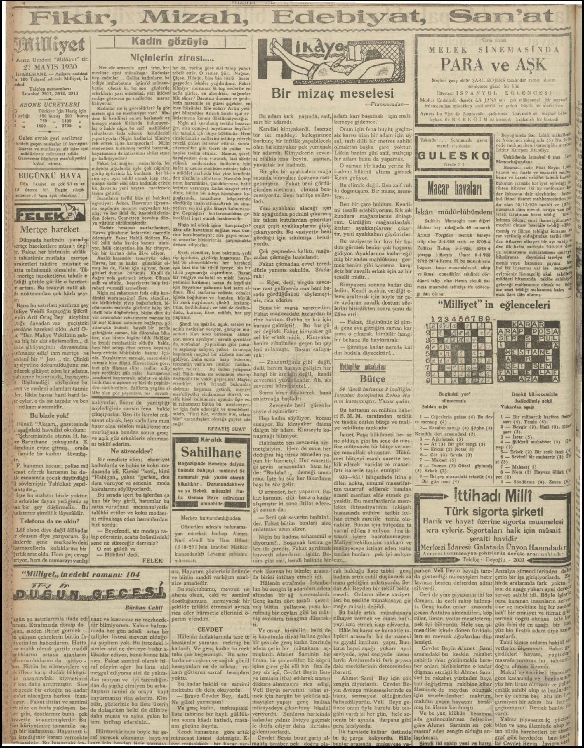 27 Mayıs 1930 Tarihli Milliyet Gazetesi Sayfa 4