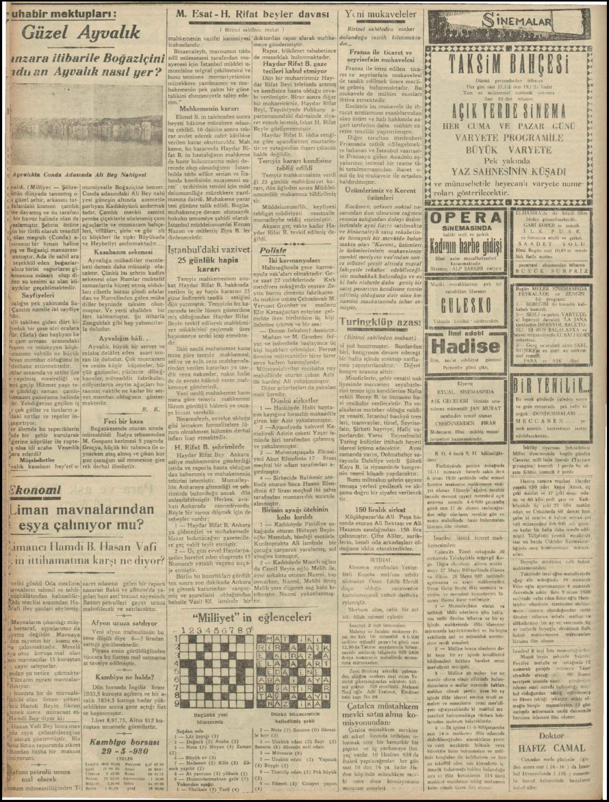 30 Mayıs 1930 Tarihli Milliyet Dergisi Sayfa 6