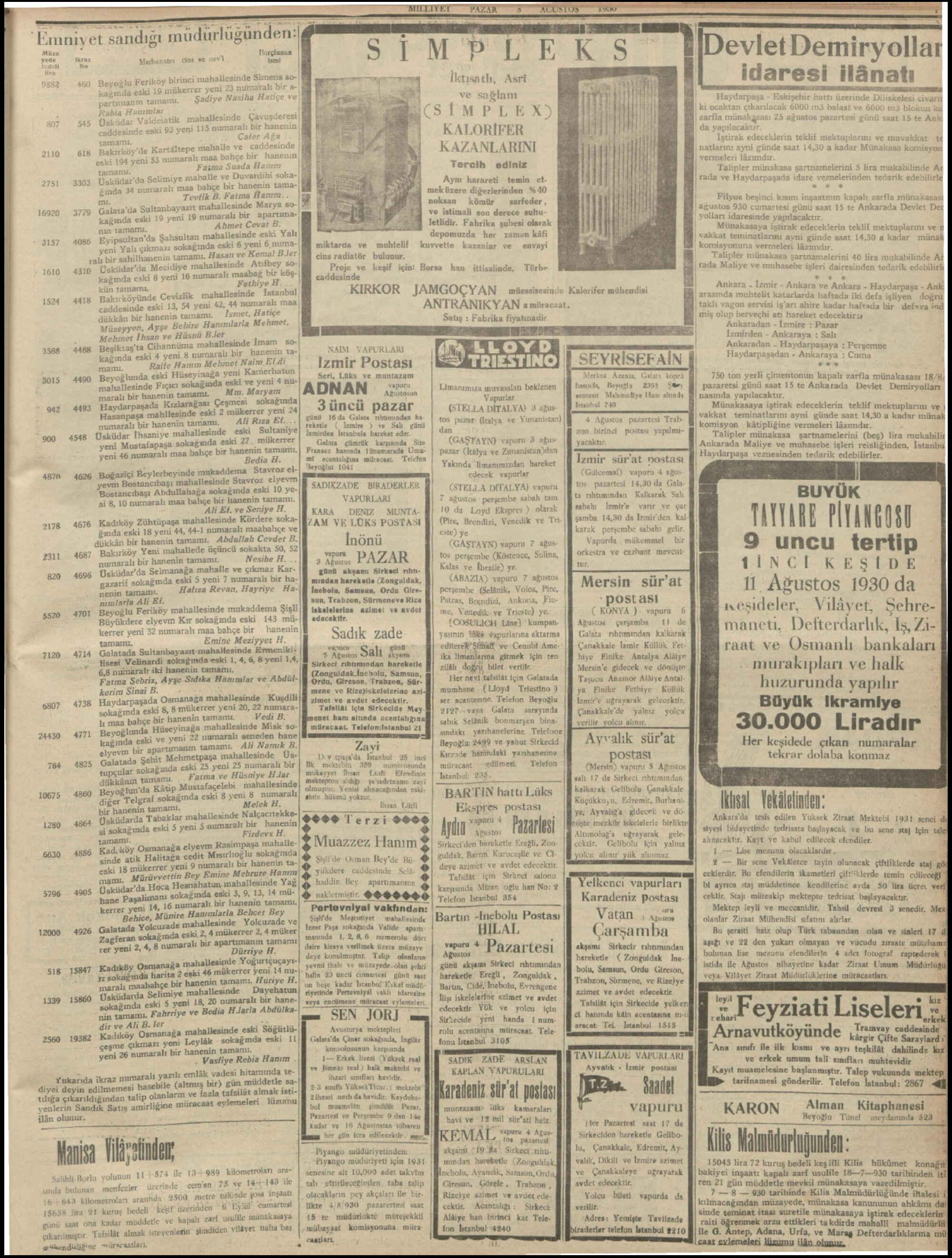 3 Ağustos 1930 Tarihli Milliyet Dergisi Sayfa 7