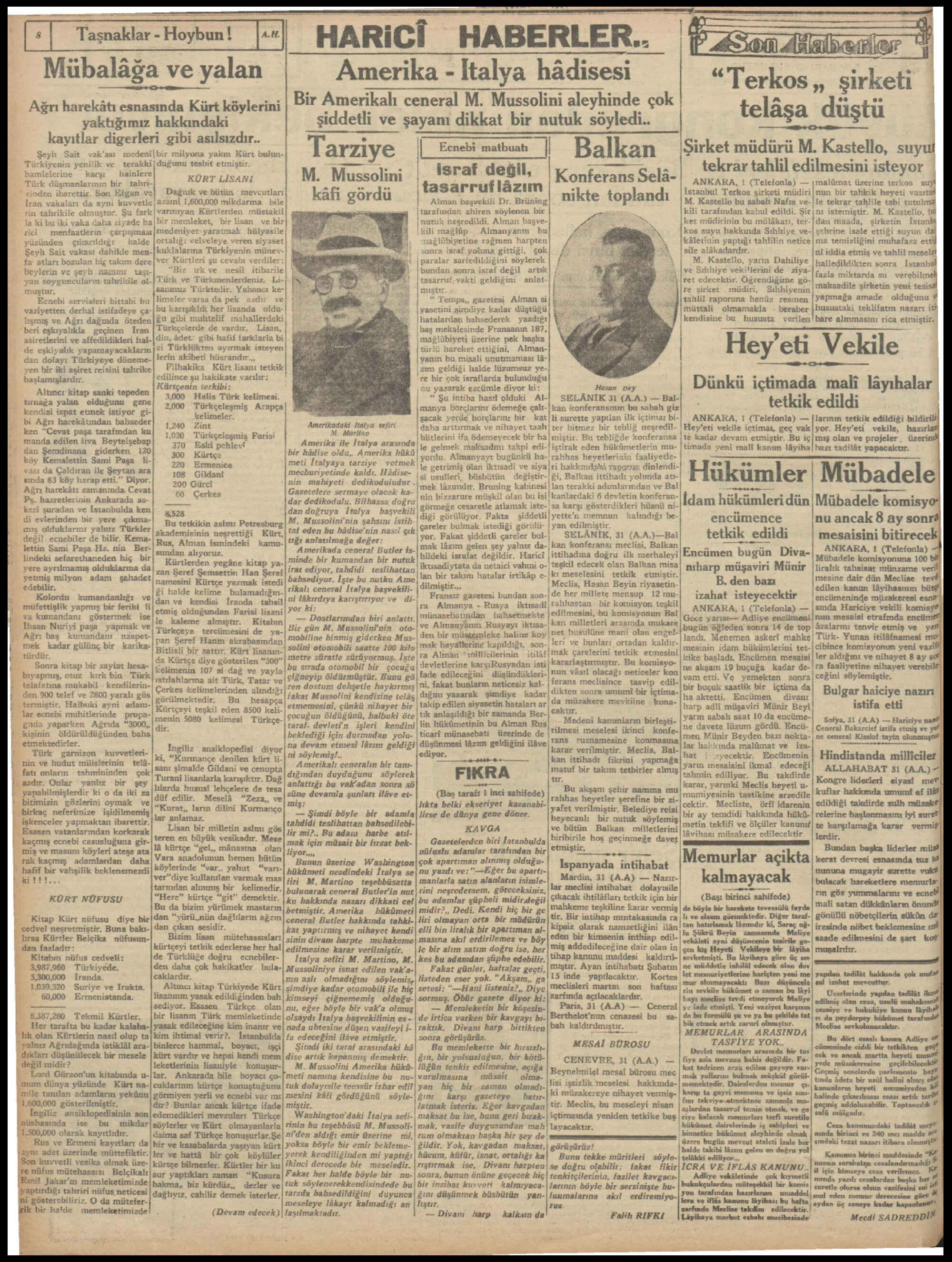 2 Şubat 1931 Tarihli Milliyet Dergisi Sayfa 2