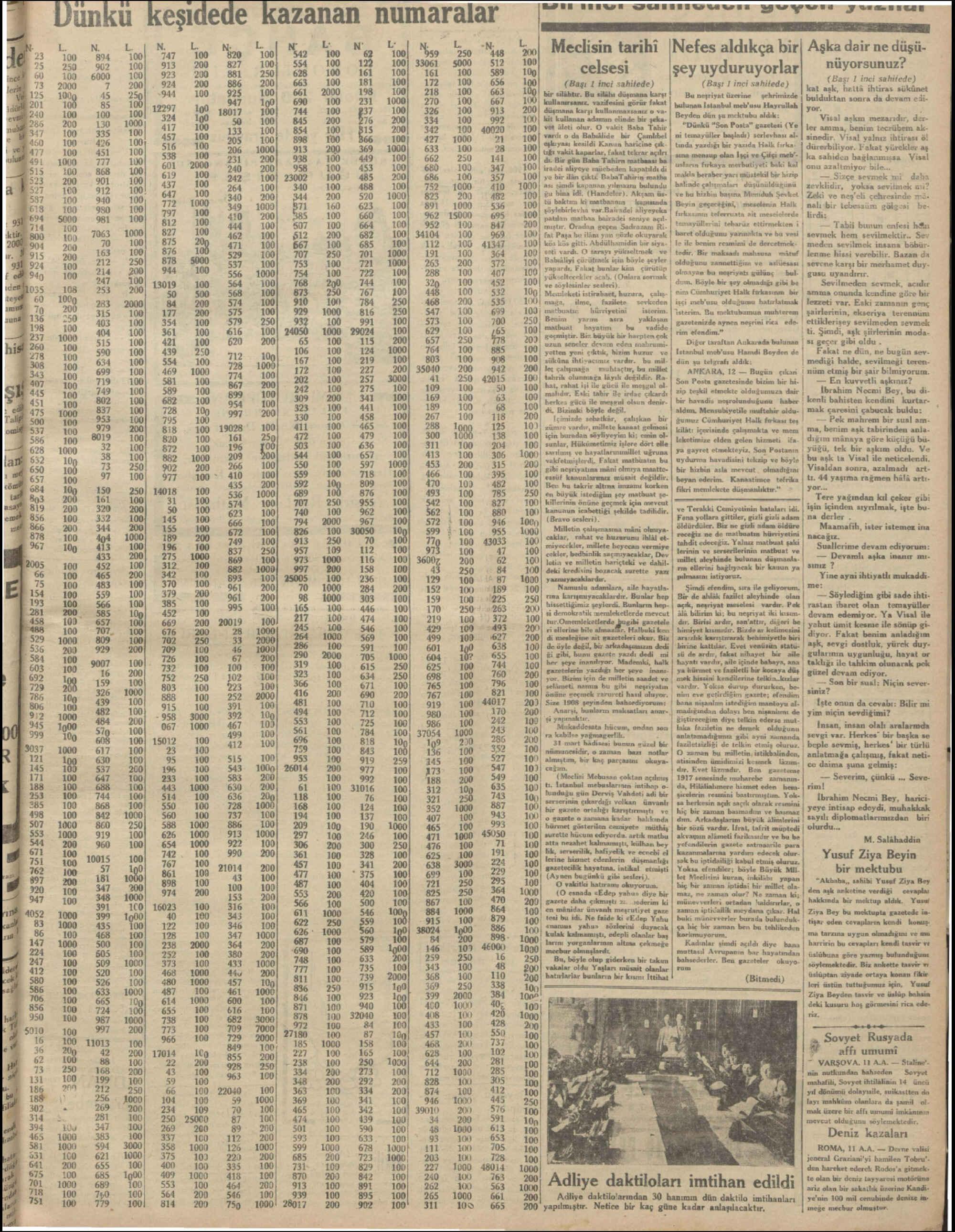 13 Temmuz 1931 Tarihli Milliyet Gazetesi Sayfa 5