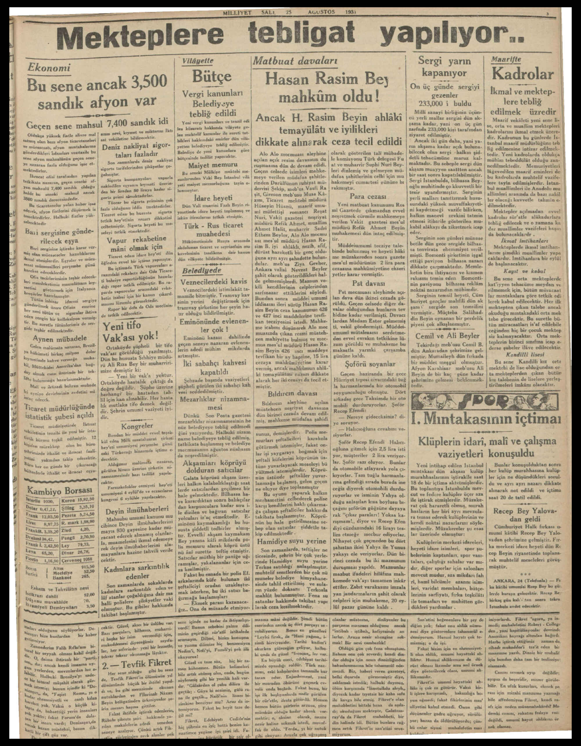 25 Ağustos 1931 Tarihli Milliyet Gazetesi Sayfa 3