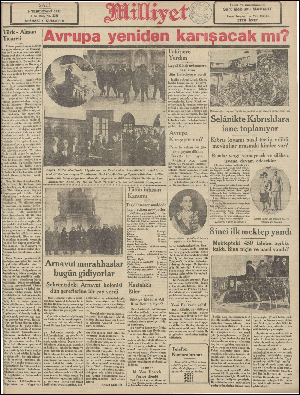3 Kasım 1931 tarihli Milliyet Gazetesi Sayfa 1