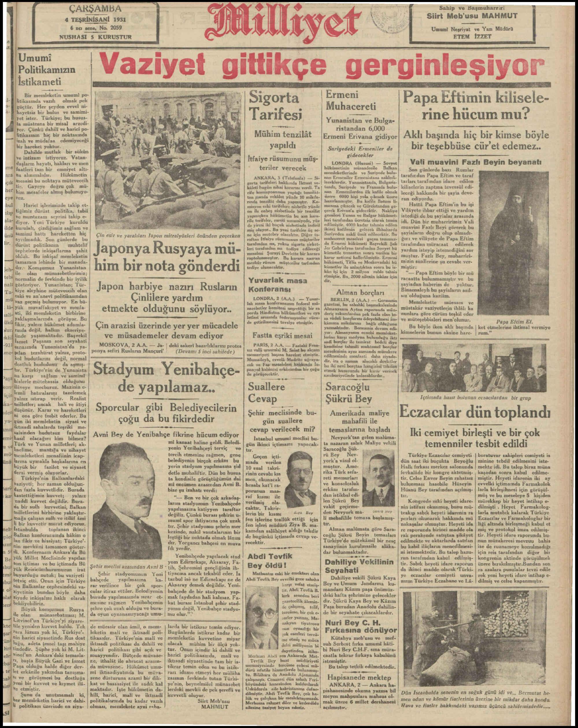 4 Kasım 1931 tarihli Milliyet Gazetesi Sayfa 1