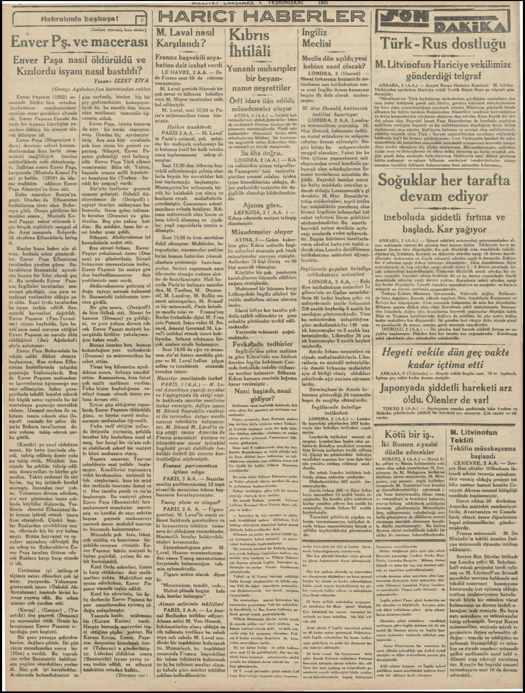 Newspaper of Milliyet dated November 4, 1931 Page 2
