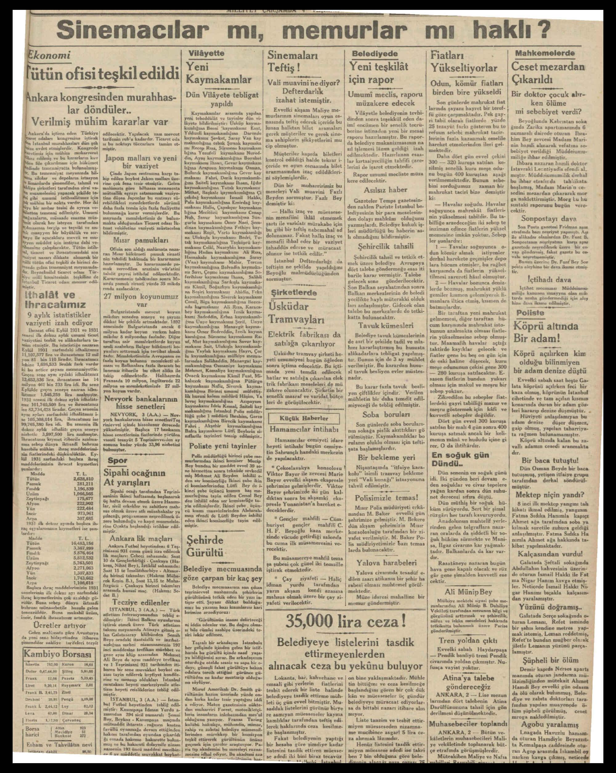 4 Kasım 1931 tarihli Milliyet Gazetesi Sayfa 3