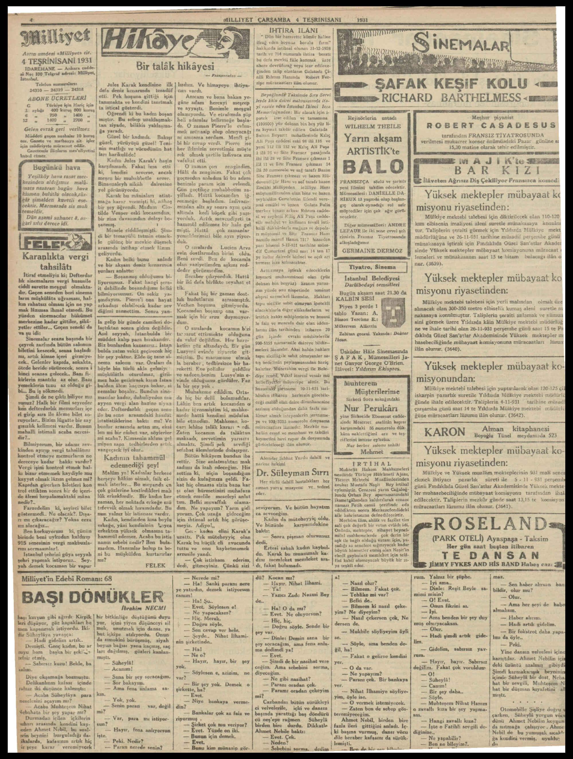 4 Kasım 1931 tarihli Milliyet Gazetesi Sayfa 4