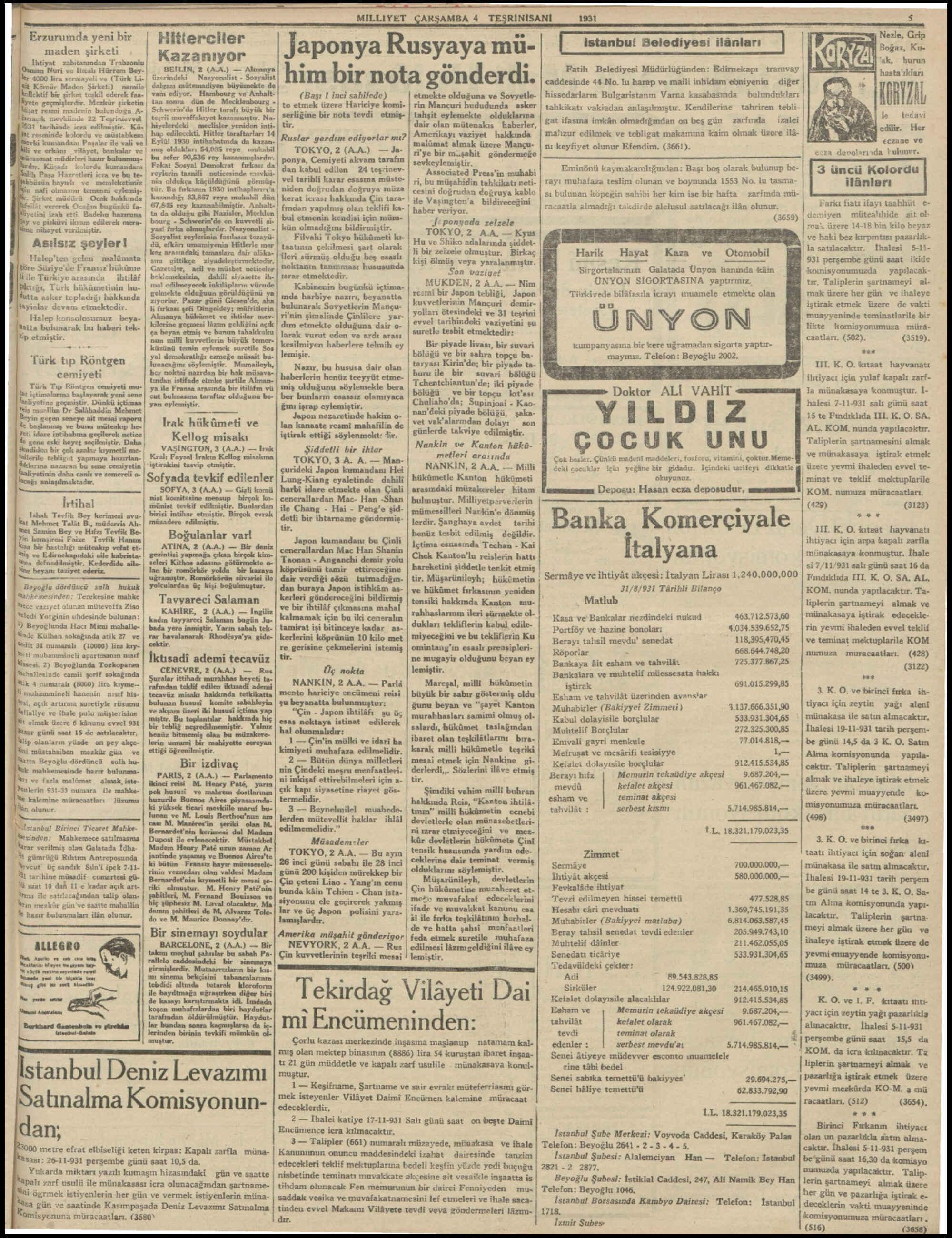 4 Kasım 1931 tarihli Milliyet Gazetesi Sayfa 5