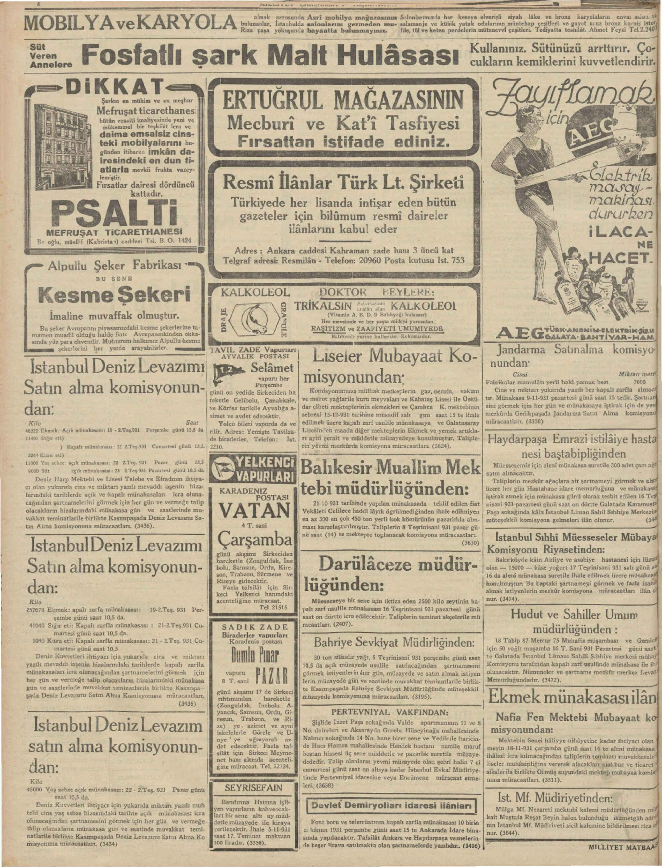 4 Kasım 1931 tarihli Milliyet Gazetesi Sayfa 6