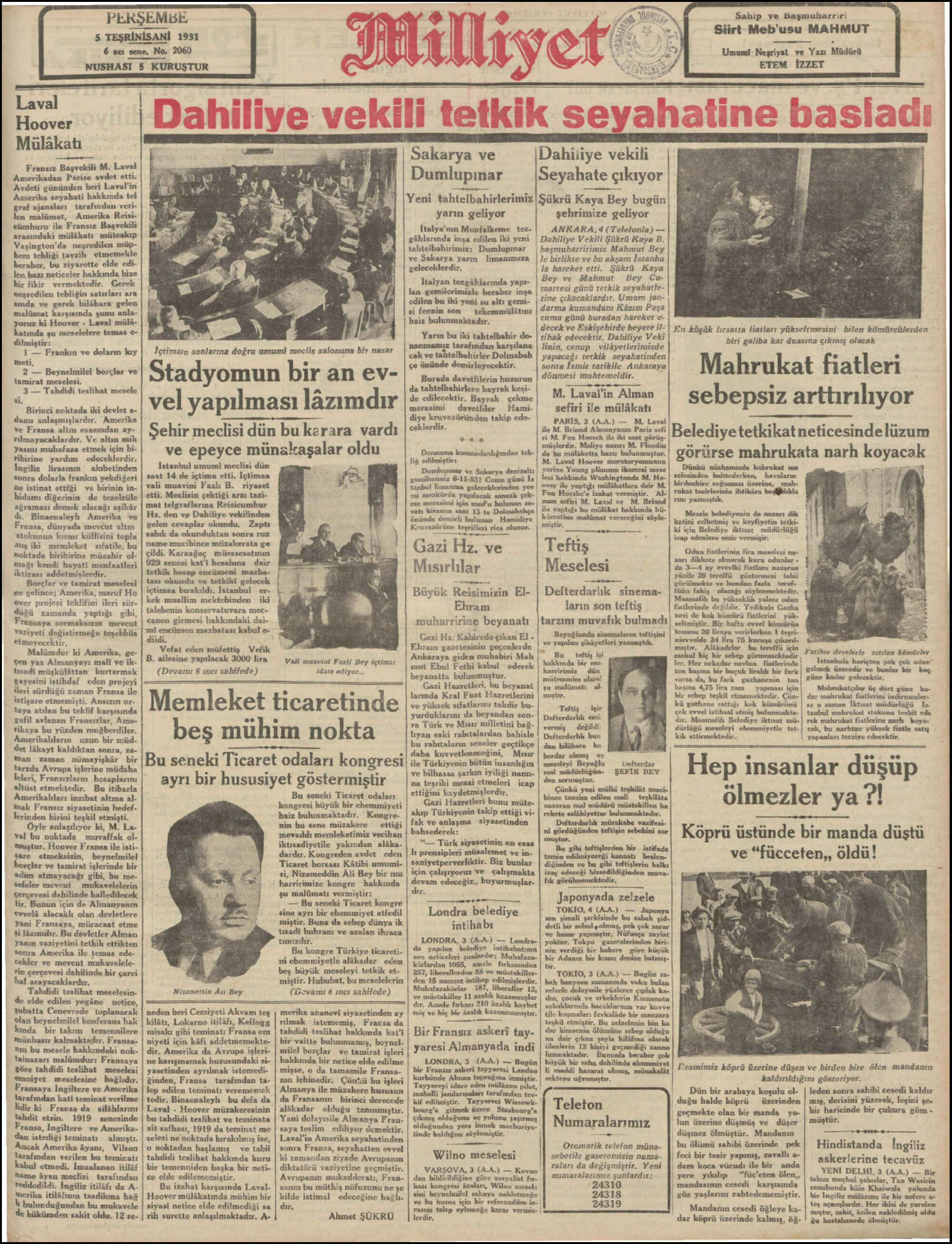 5 Kasım 1931 tarihli Milliyet Gazetesi Sayfa 1