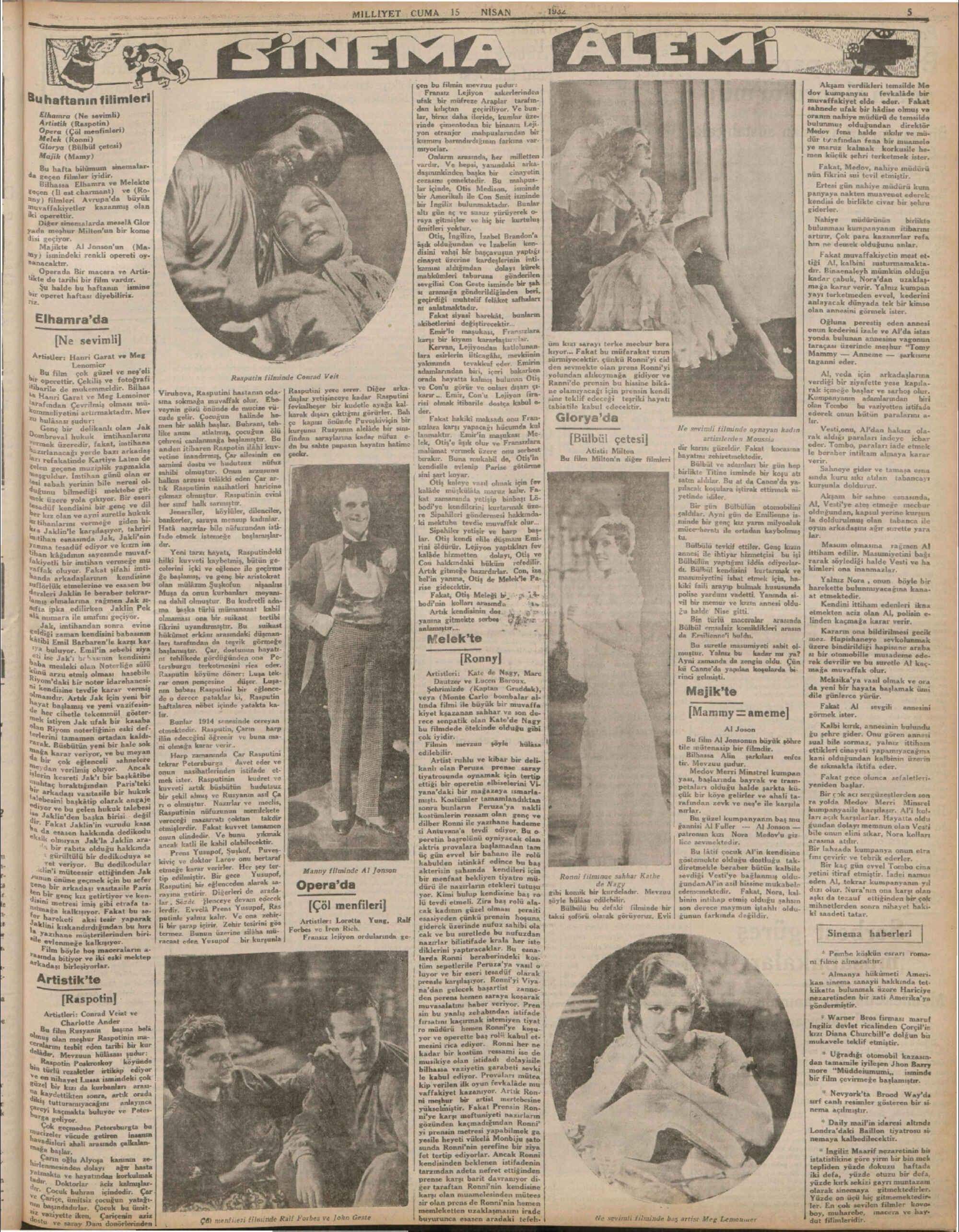 15 Nisan 1932 Tarihli Milliyet Gazetesi Sayfa 5