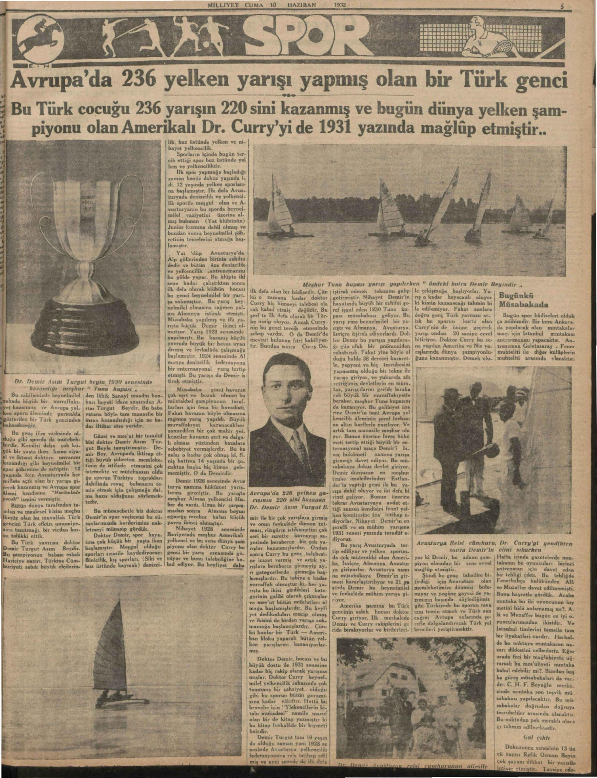 10 Haziran 1932 Tarihli Milliyet Gazetesi Sayfa 5