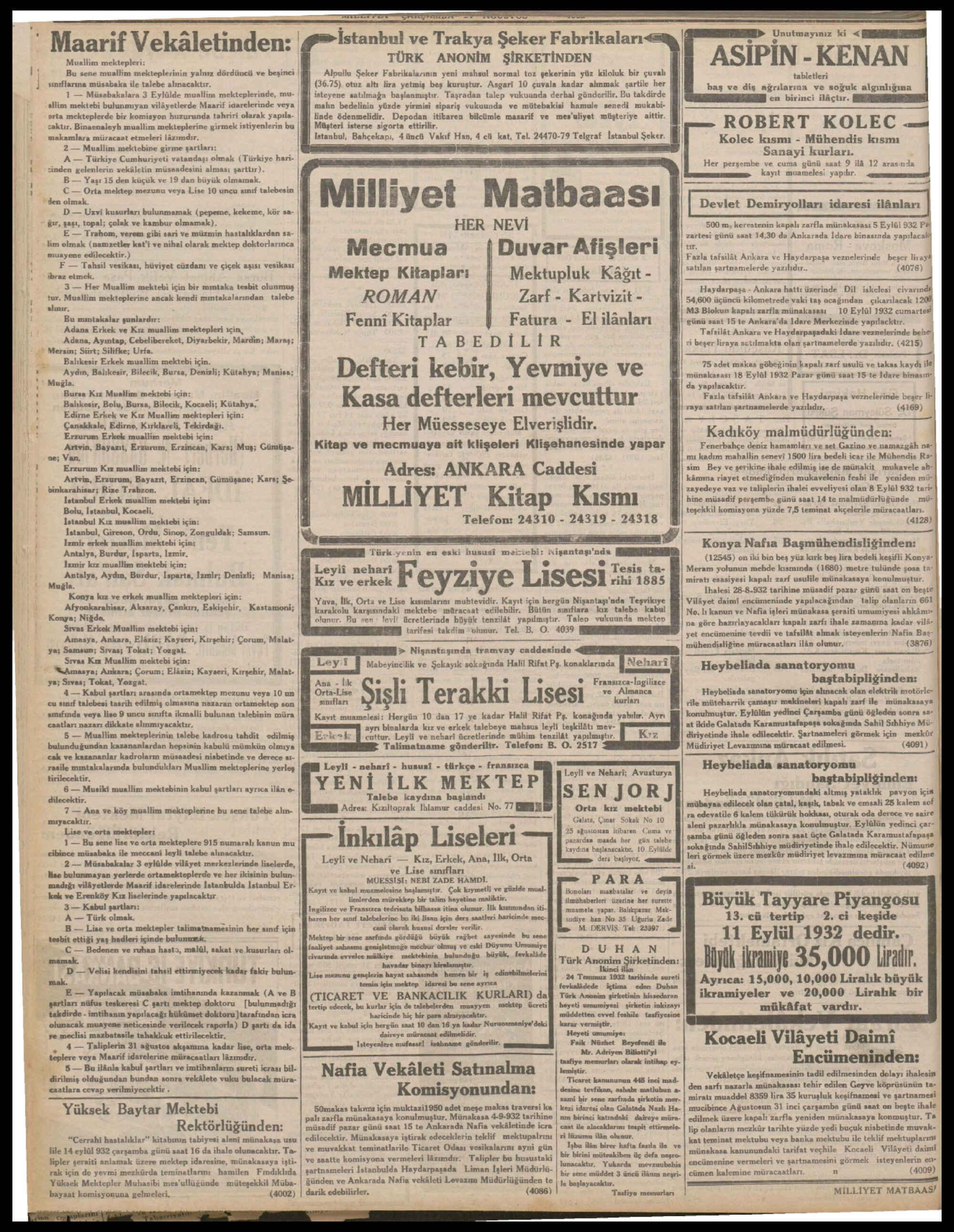 24 Ağustos 1932 Tarihli Milliyet Dergisi Sayfa 8