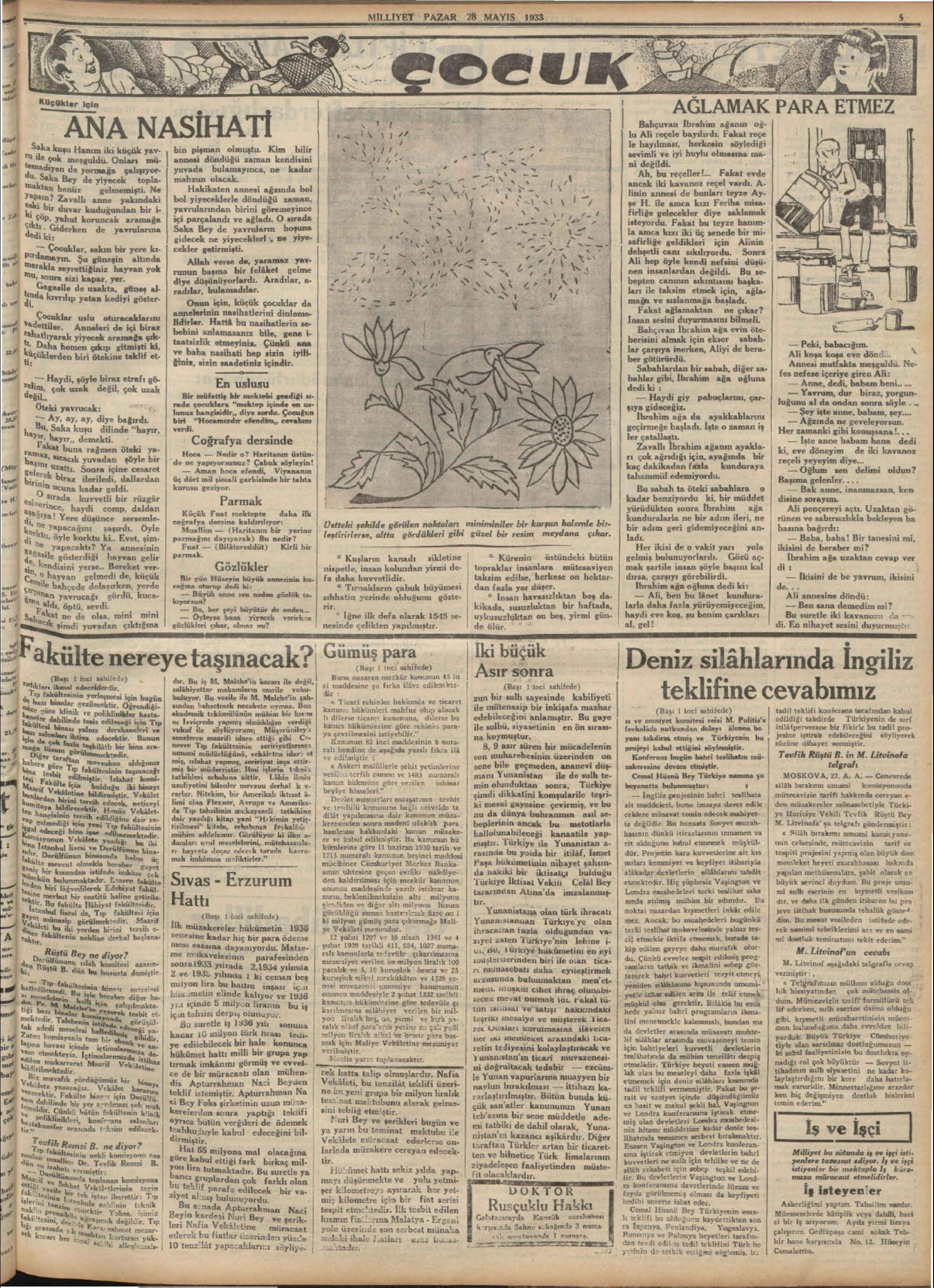 28 Mayıs 1933 Tarihli Milliyet Gazetesi Sayfa 5