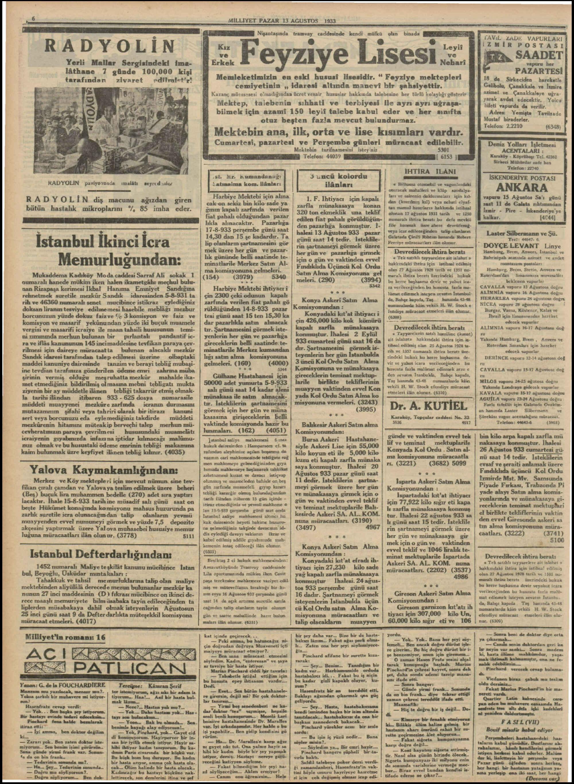 13 Ağustos 1933 Tarihli Milliyet Gazetesi Sayfa 6