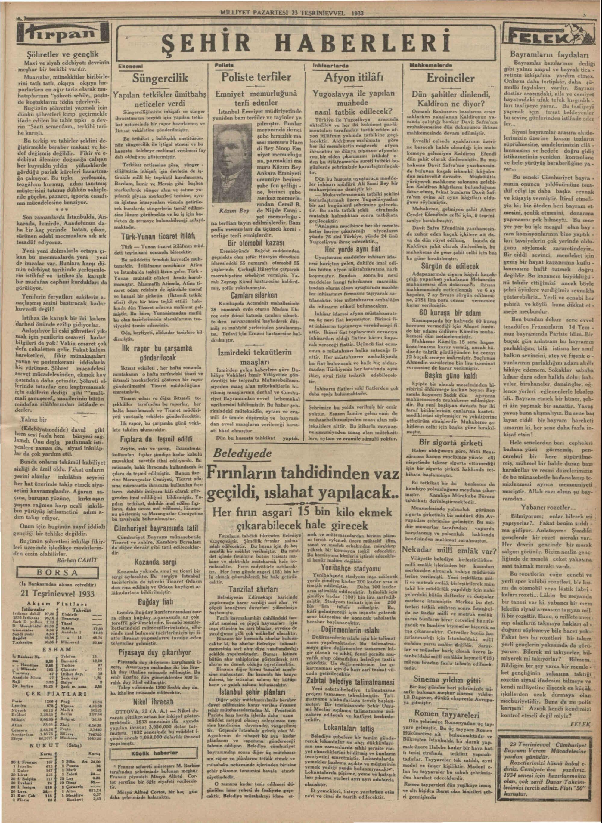 23 Ekim 1933 Tarihli Milliyet Gazetesi Sayfa 3