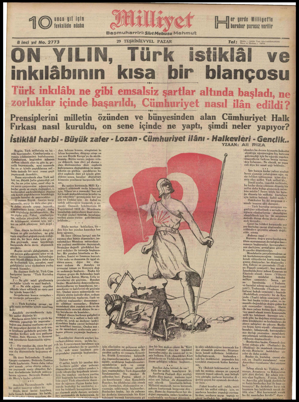29 Ekim 1933 Tarihli Milliyet Gazetesi Sayfa 3