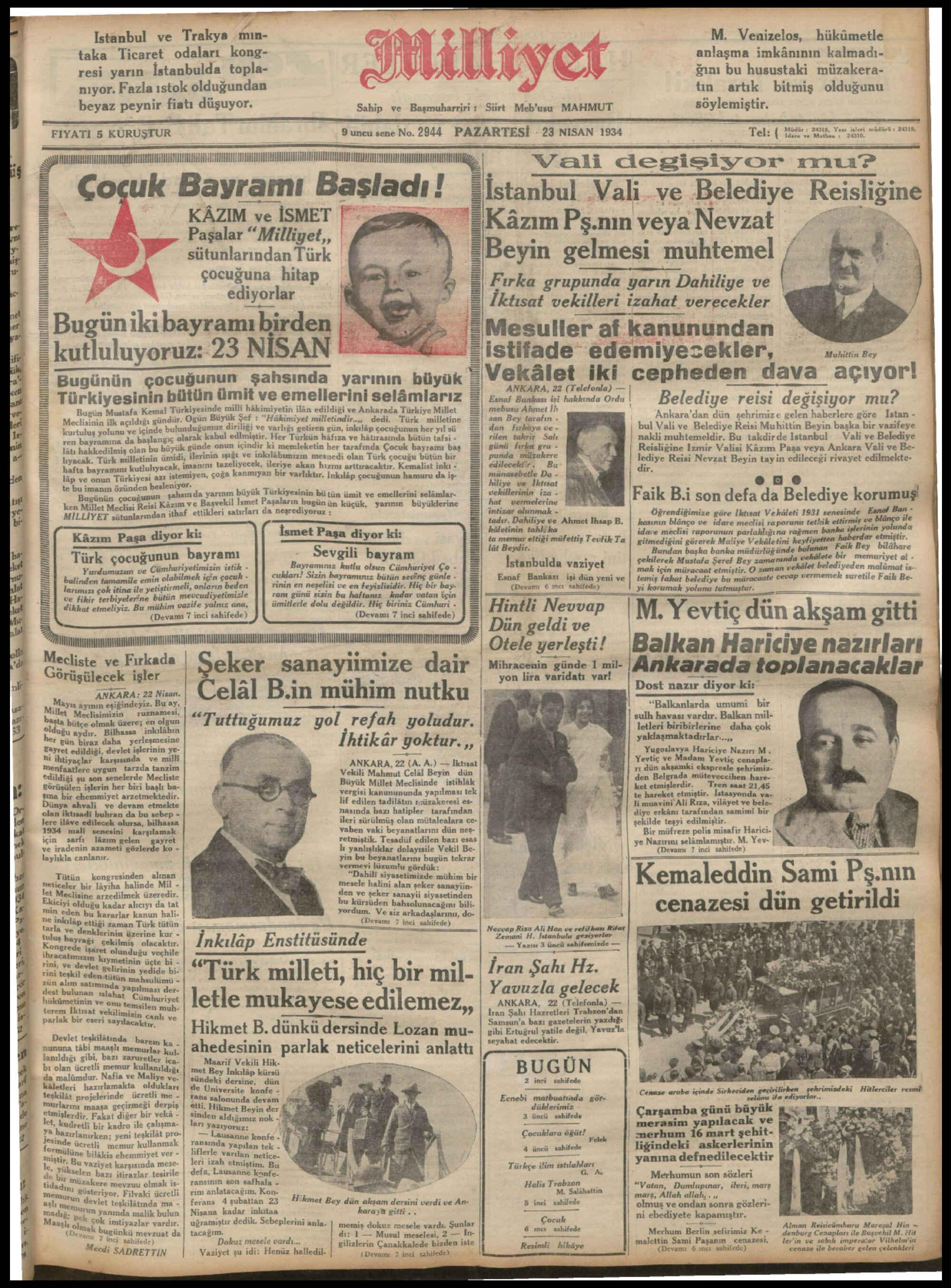 23 Nisan 1934 tarihli Milliyet Gazetesi Sayfa 1