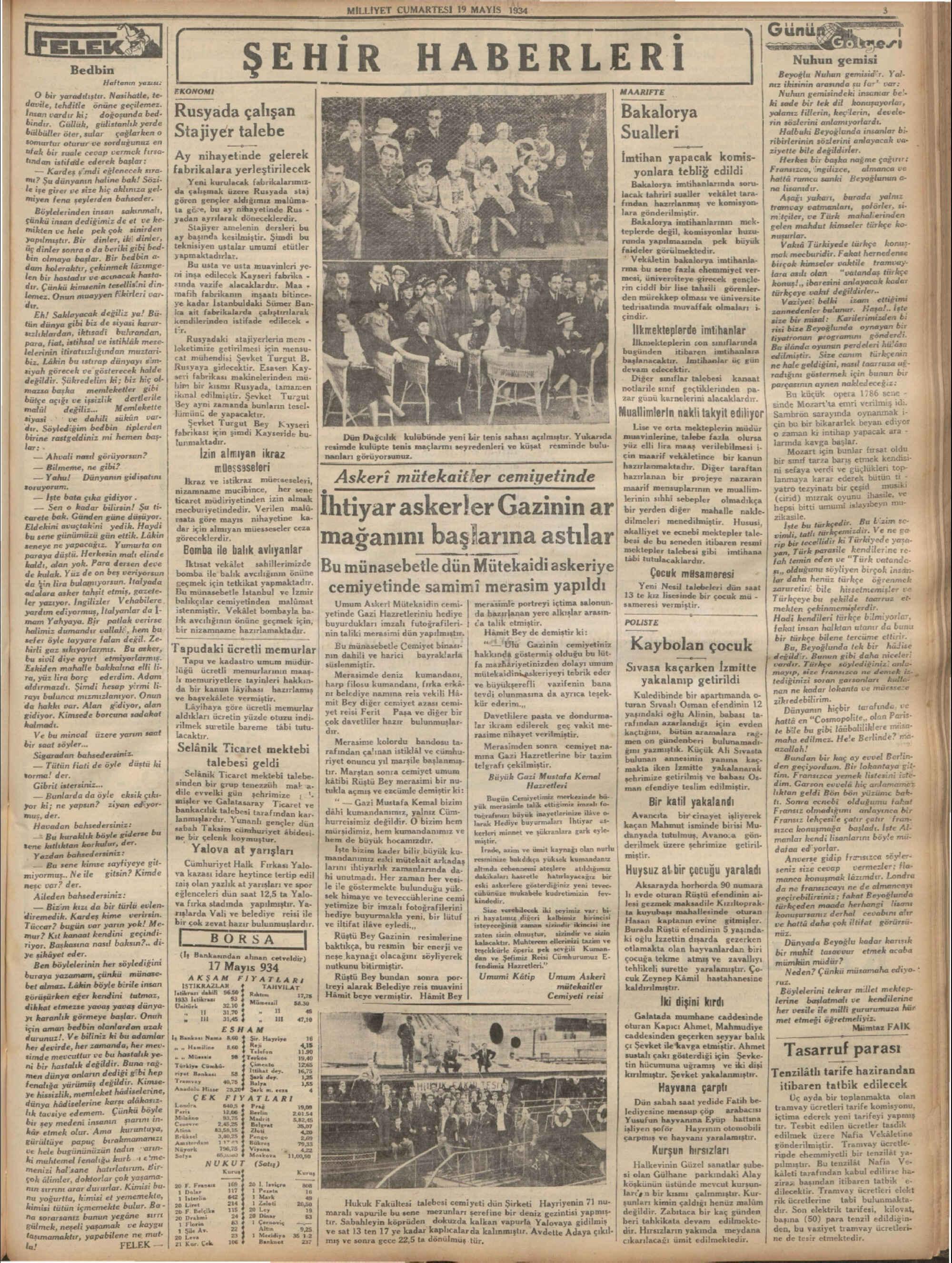 19 Mayıs 1934 Tarihli Milliyet Dergisi Sayfa 3