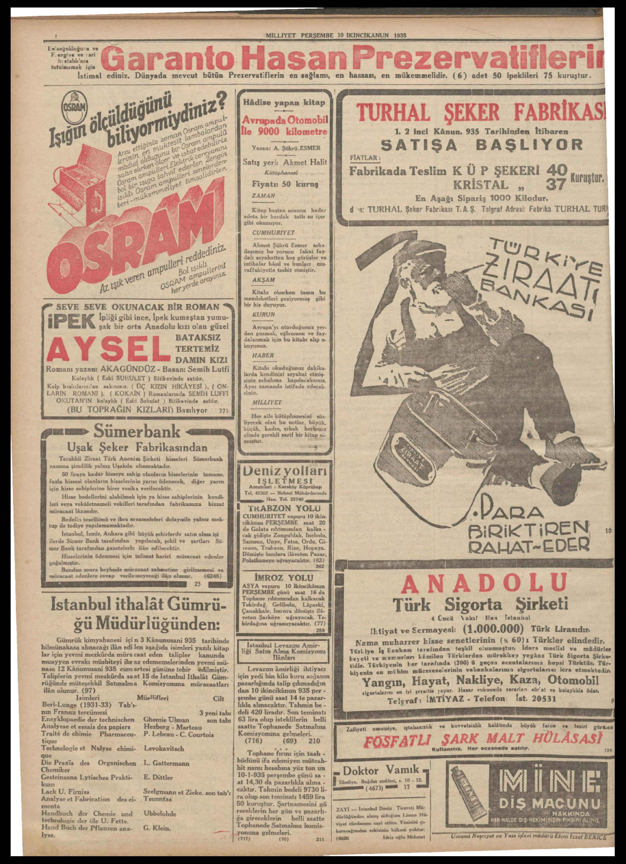 10 Ocak 1935 Tarihli Milliyet Gazetesi Sayfa 8