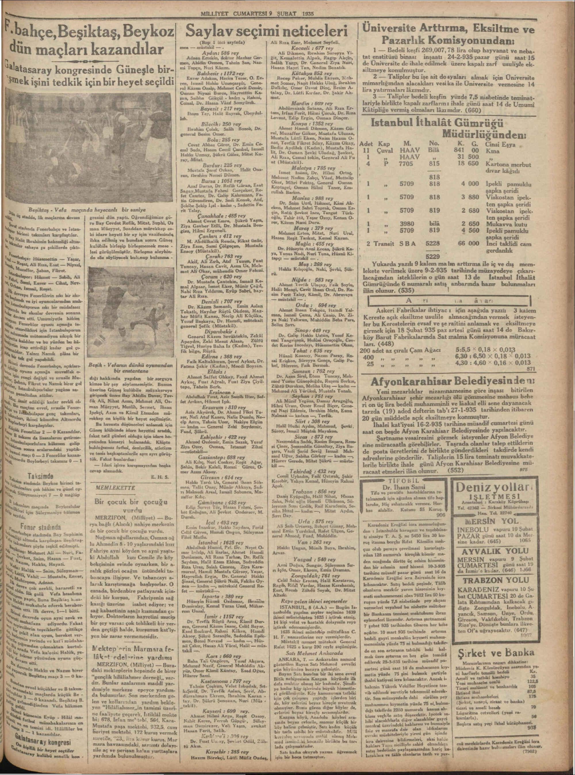 9 Şubat 1935 Tarihli Milliyet Dergisi Sayfa 7