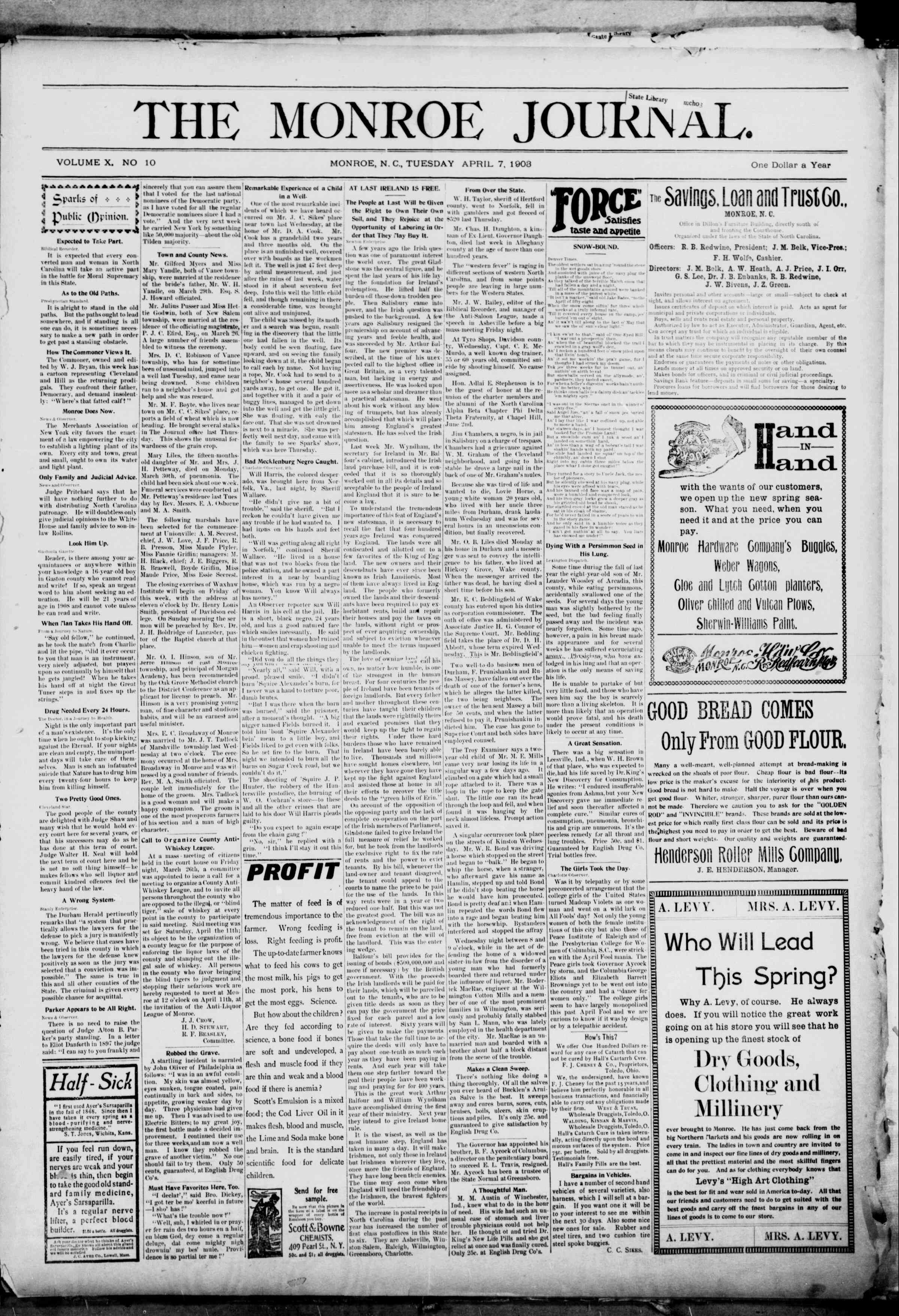 April 7, 1903 Tarihli The Monroe Journal Gazetesi Sayfa 1