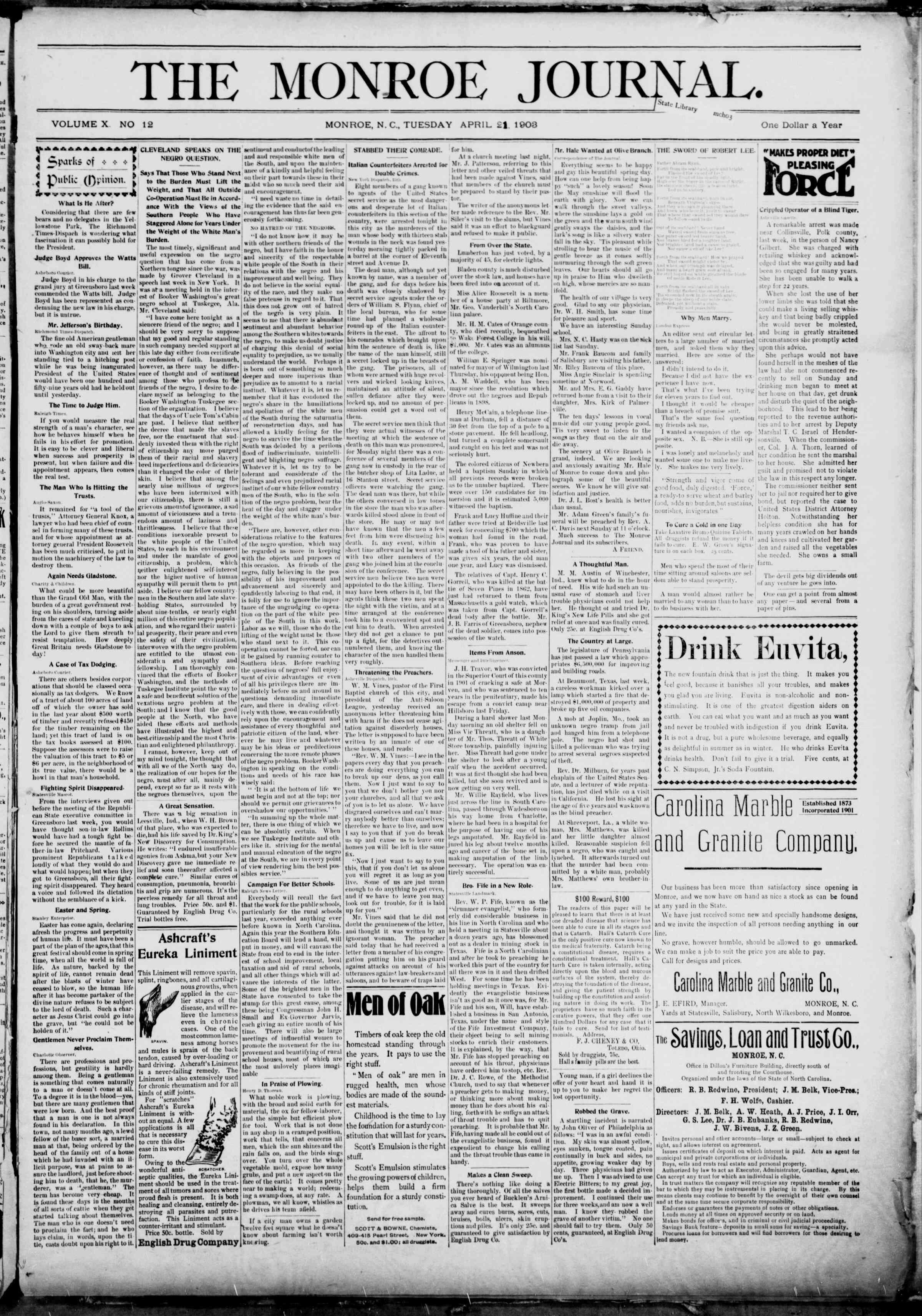 21 Nisan 1903 Tarihli The Monroe Journal Dergisi Sayfa 1